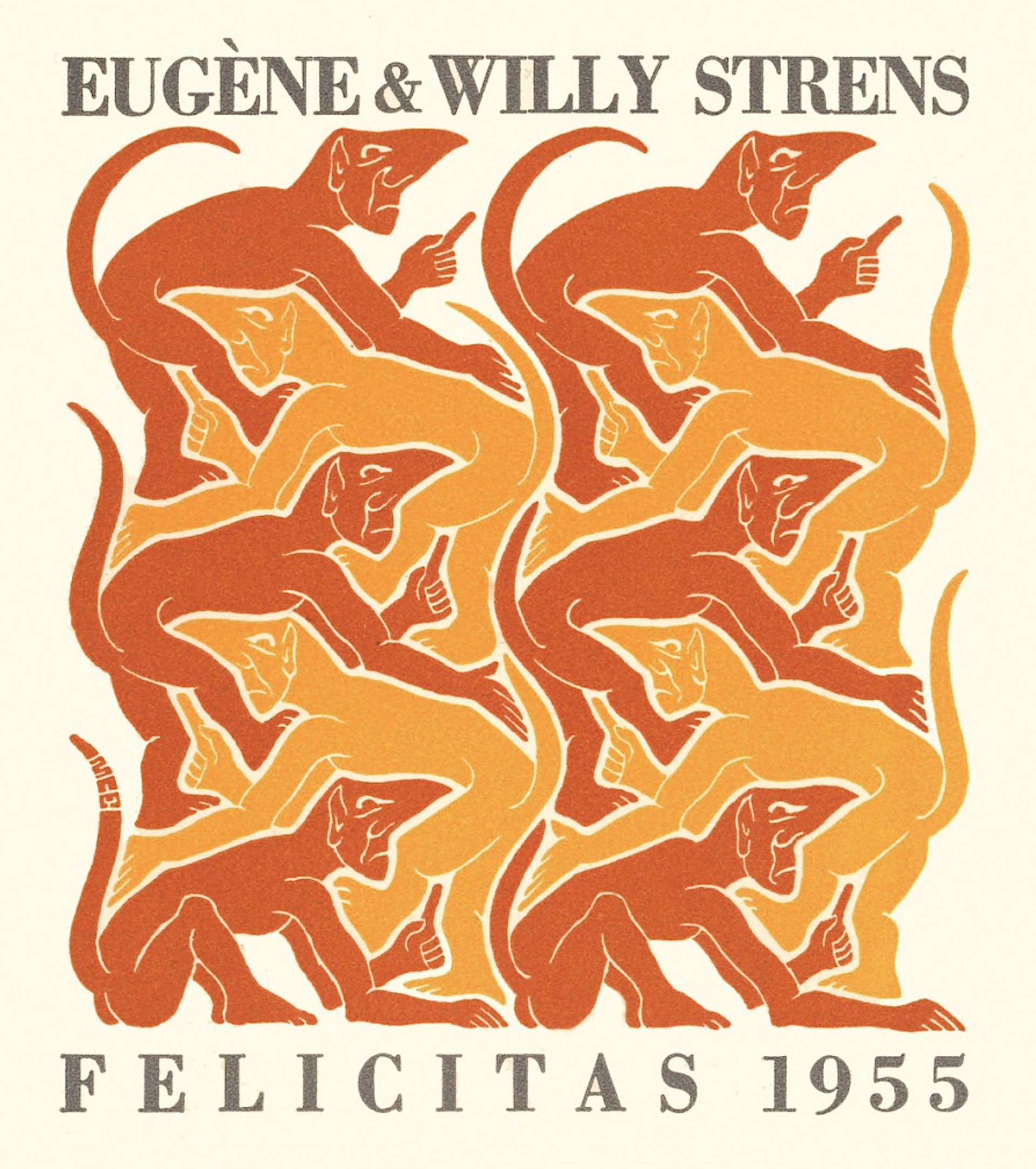 Fire - Strens New Year's Greeting Card (Devils) by M.C. Escher