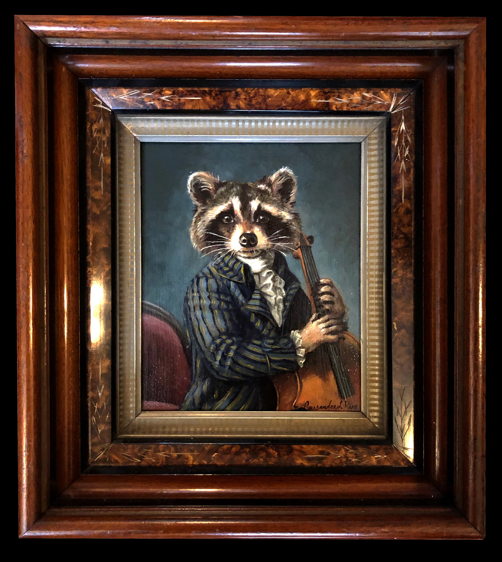 Raccoon  Playing a Cello by Cassandra Kim