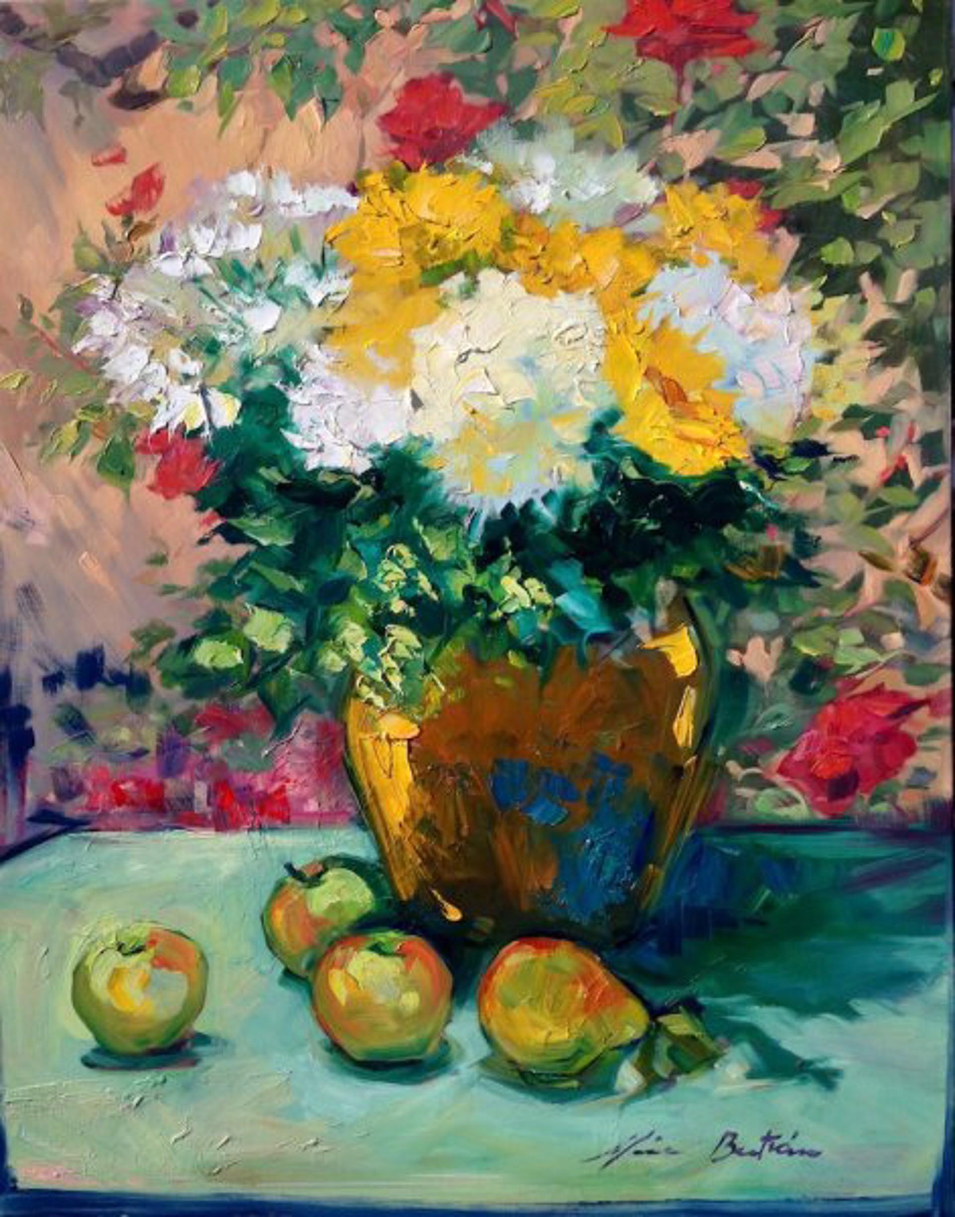 Hydrangeas And Sunflowers by Maria Bertrán