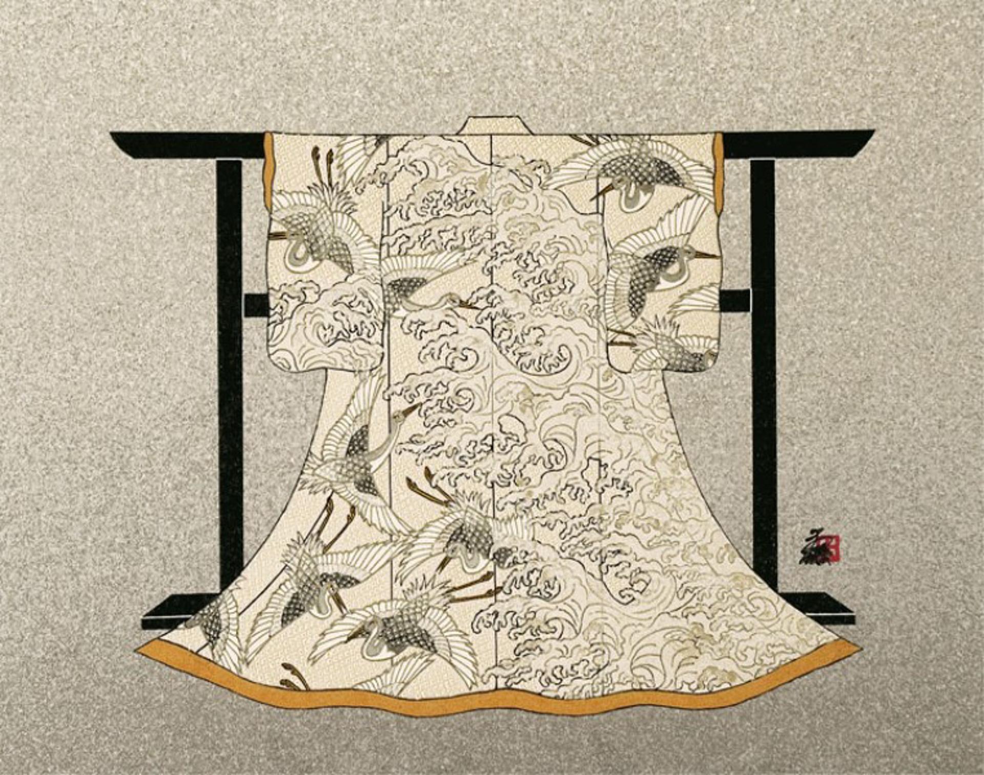 Egrets And Waves (Kimono) by Hisashi Otsuka