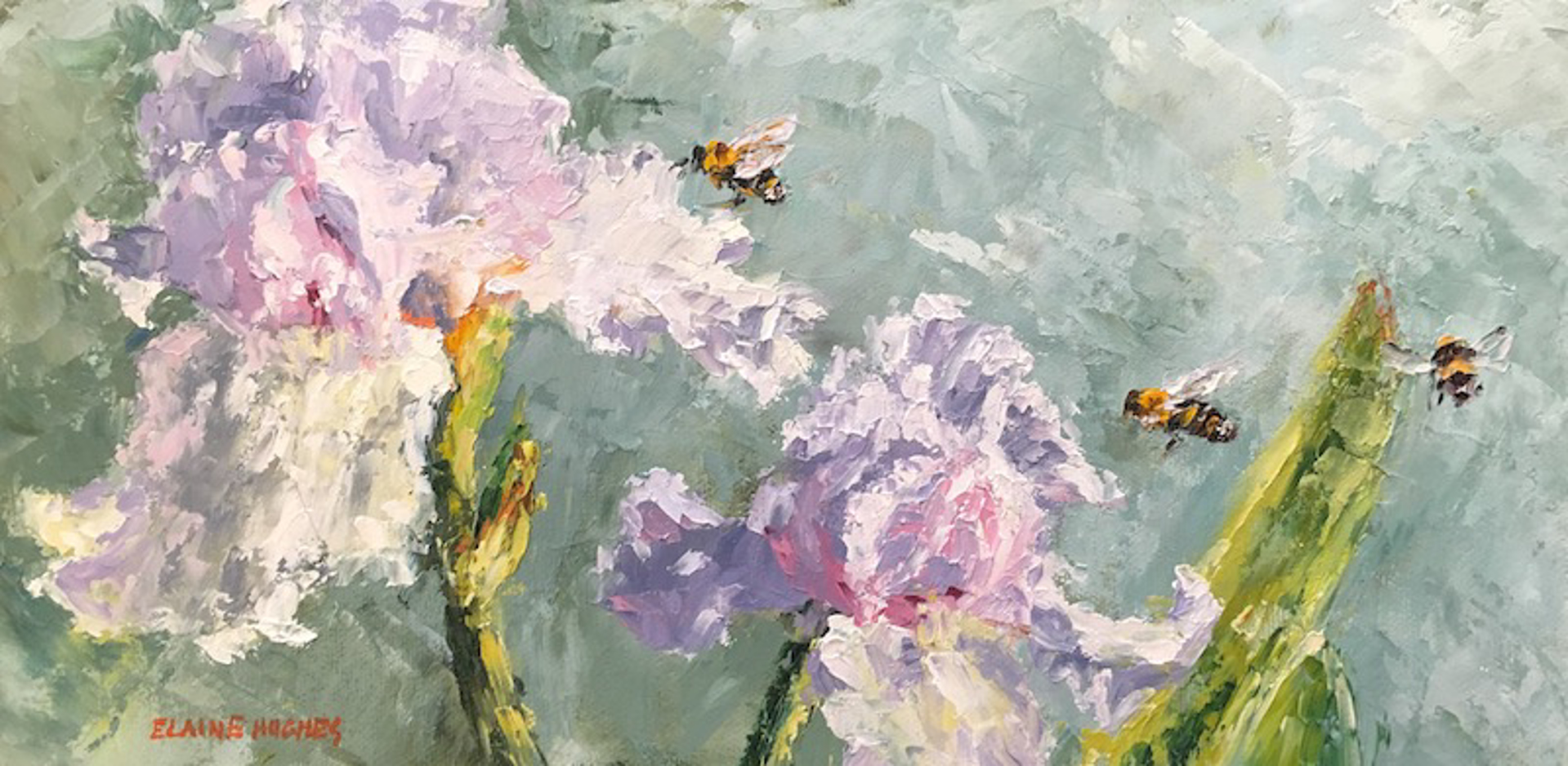 Iris And Bees by Elaine Hughes