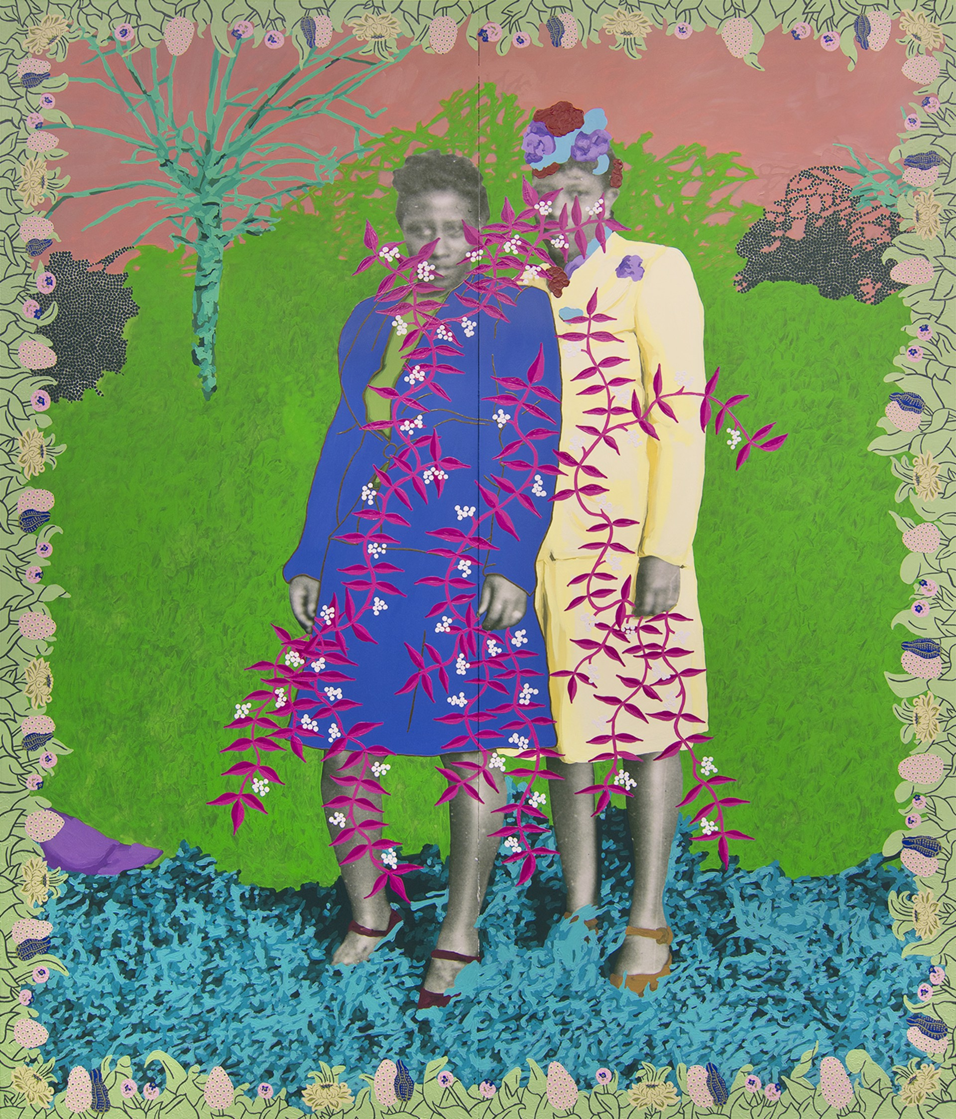 Untitled (Two Women with Floral Frame) by Daisy Patton