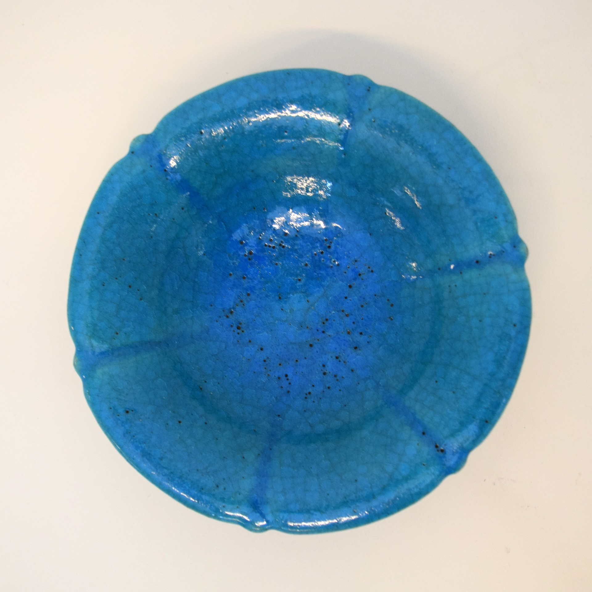 TURQUOISE GLAZED AMERICAN POTTERY TAZZA