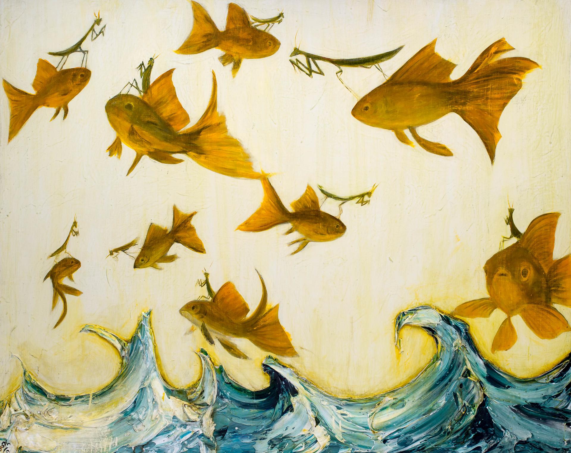 Gold Fish Mantises War by JUSTIN GAFFREY