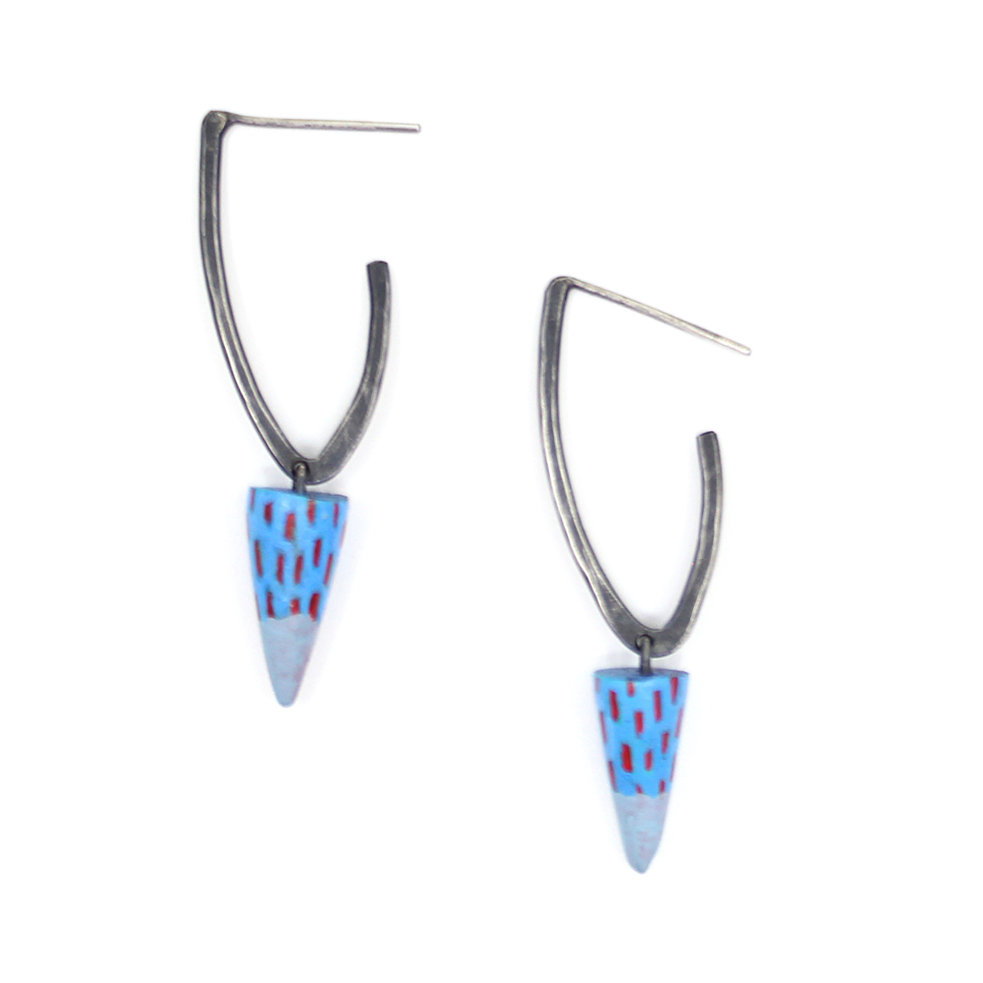 Oxidized Angle Hoops by Lindsay Locatelli