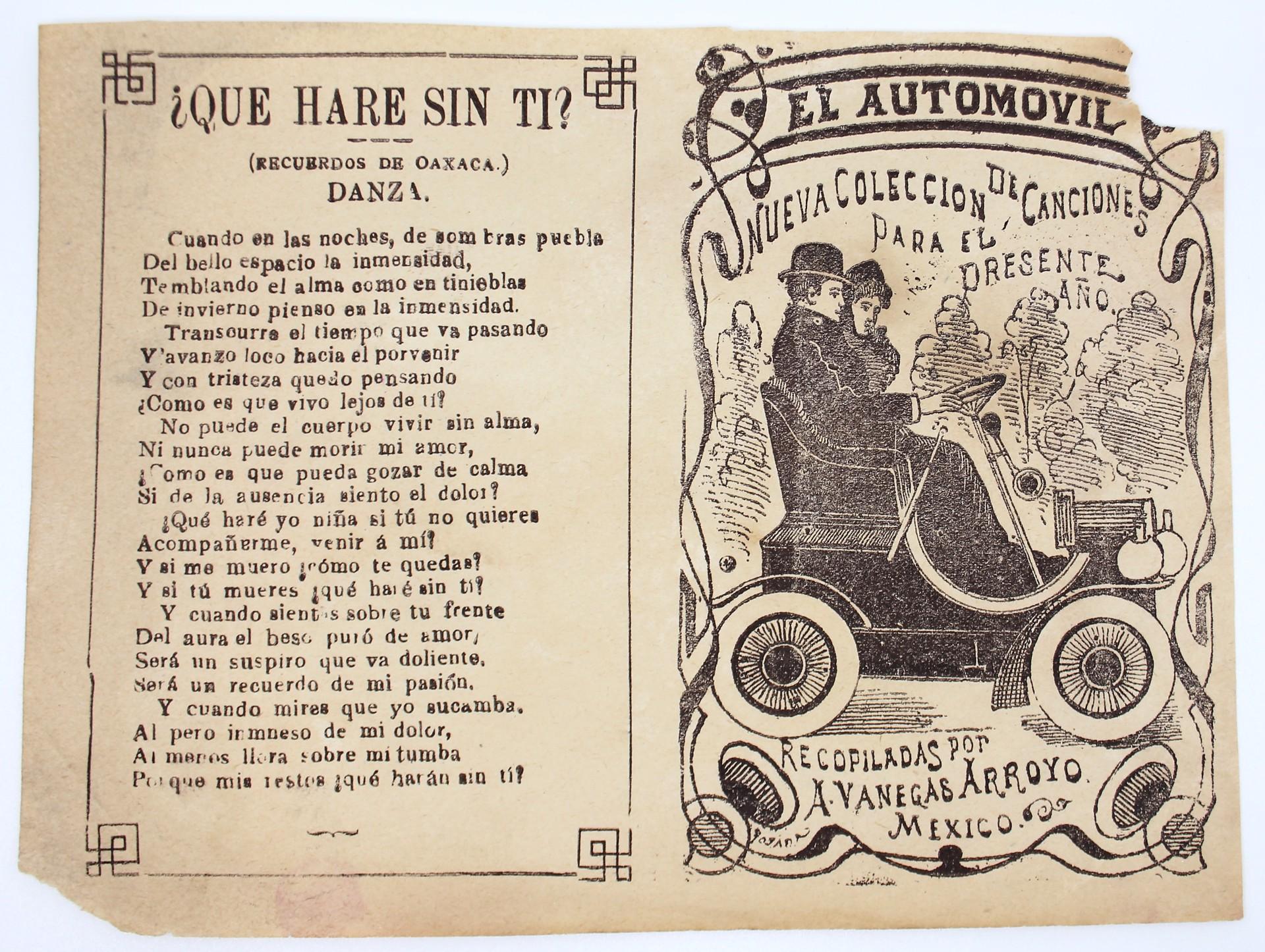 El Automovil. Nueva Colección de Canciones para el presente ano by José Guadalupe Posada (1852 - 1913)
