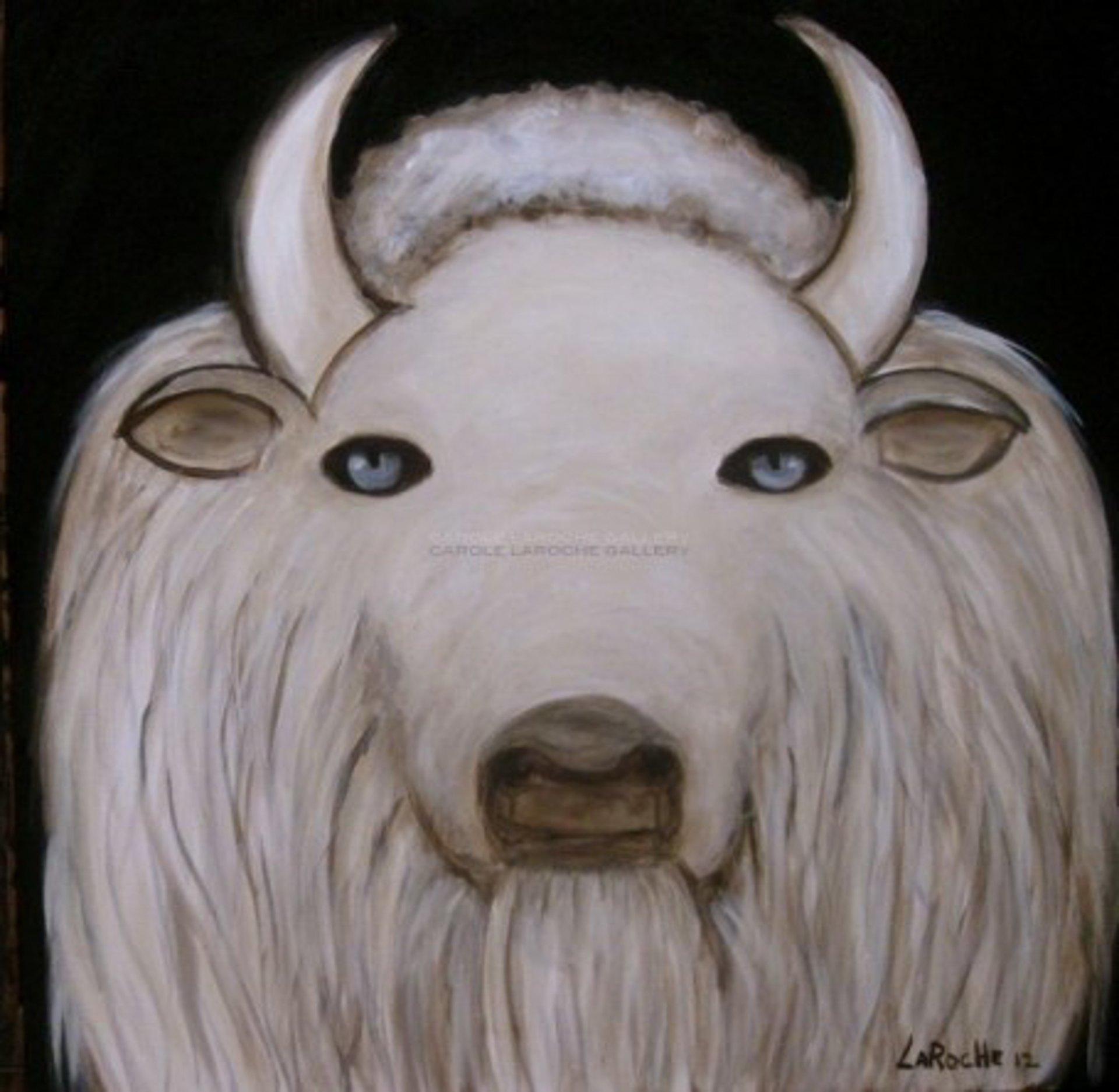 "WHITE BUFFALO - limited edition giclee on canvas 30""x30"" by Carole LaRoche"
