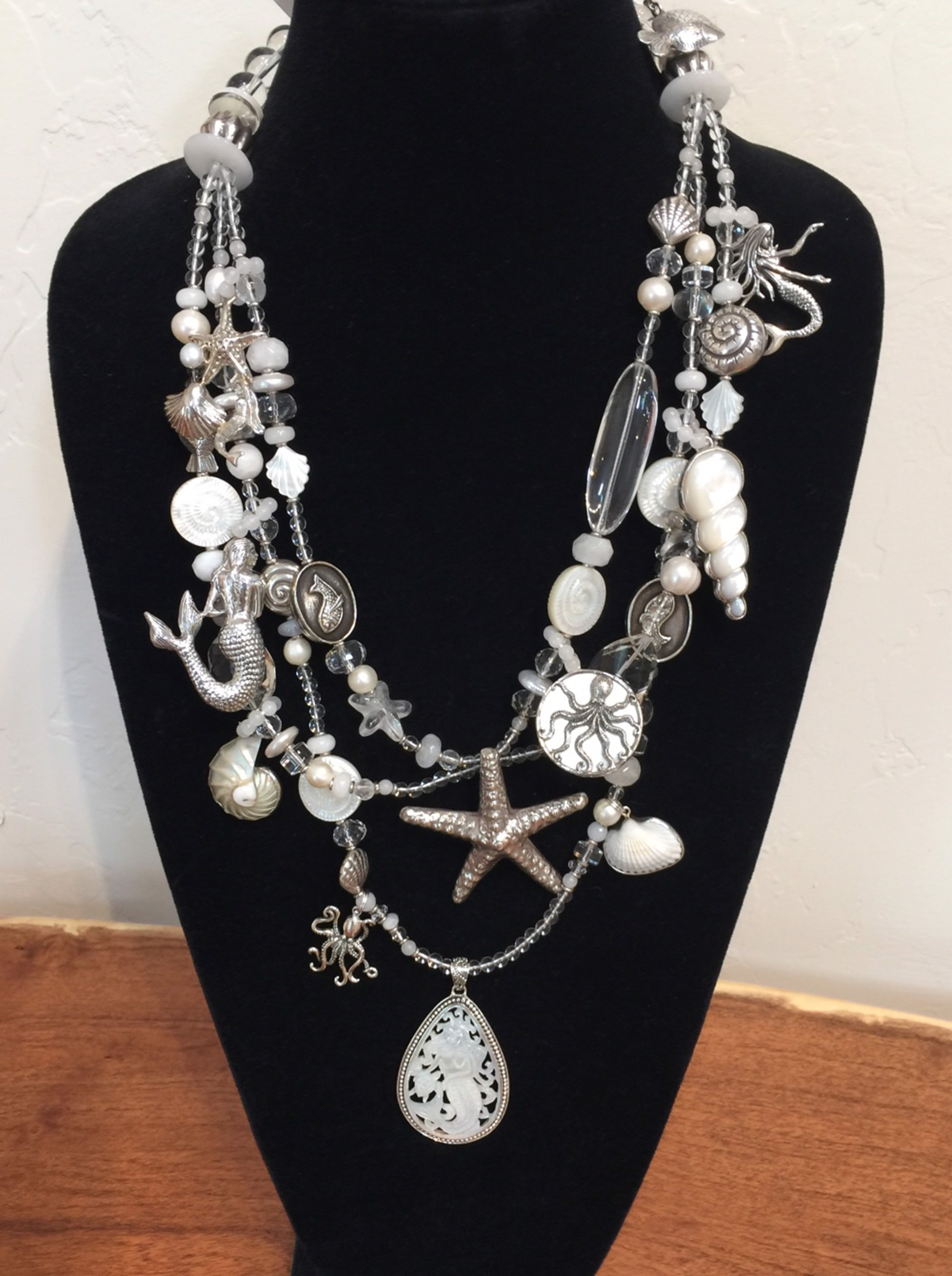 KY 1352C - 3 Strand Sea Creature Necklace, Rock Crystal, Pearls, Moonstone & Sterling Silver by Kim Yubeta