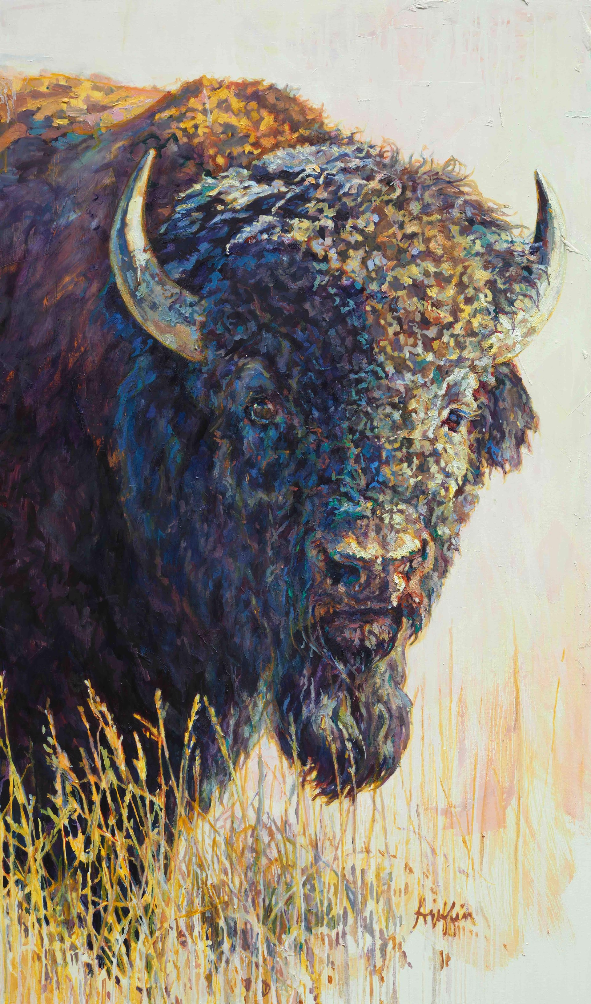 An Original Contemporary Oil Painting Of A Colorful Bull Bison Standing In Grass, By Patricia Griffin