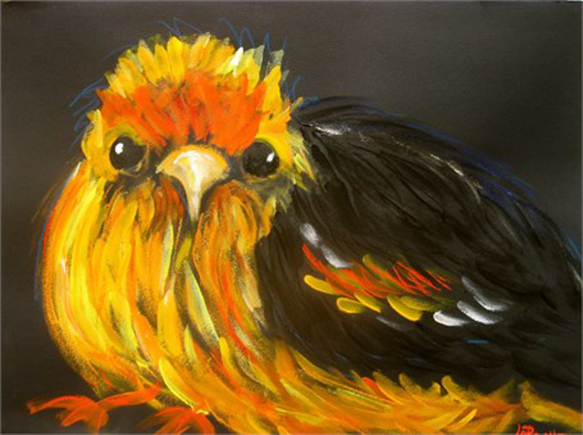 """WILD YELLOW BIRD - limited edition giclee on paper w/frame size of 30""""x38"""" by Carole LaRoche"""