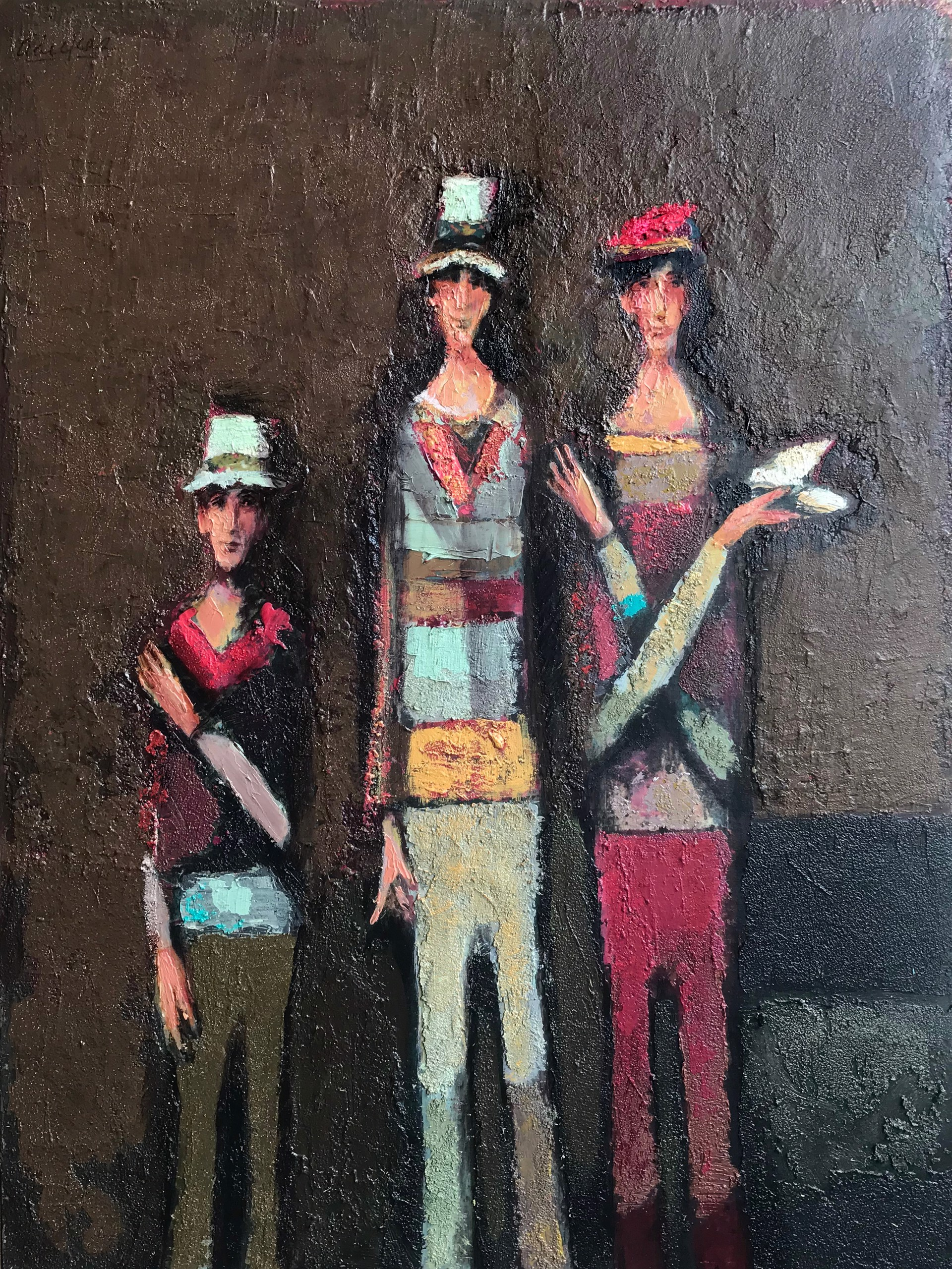 Three Guys With Bird  by David Adickes