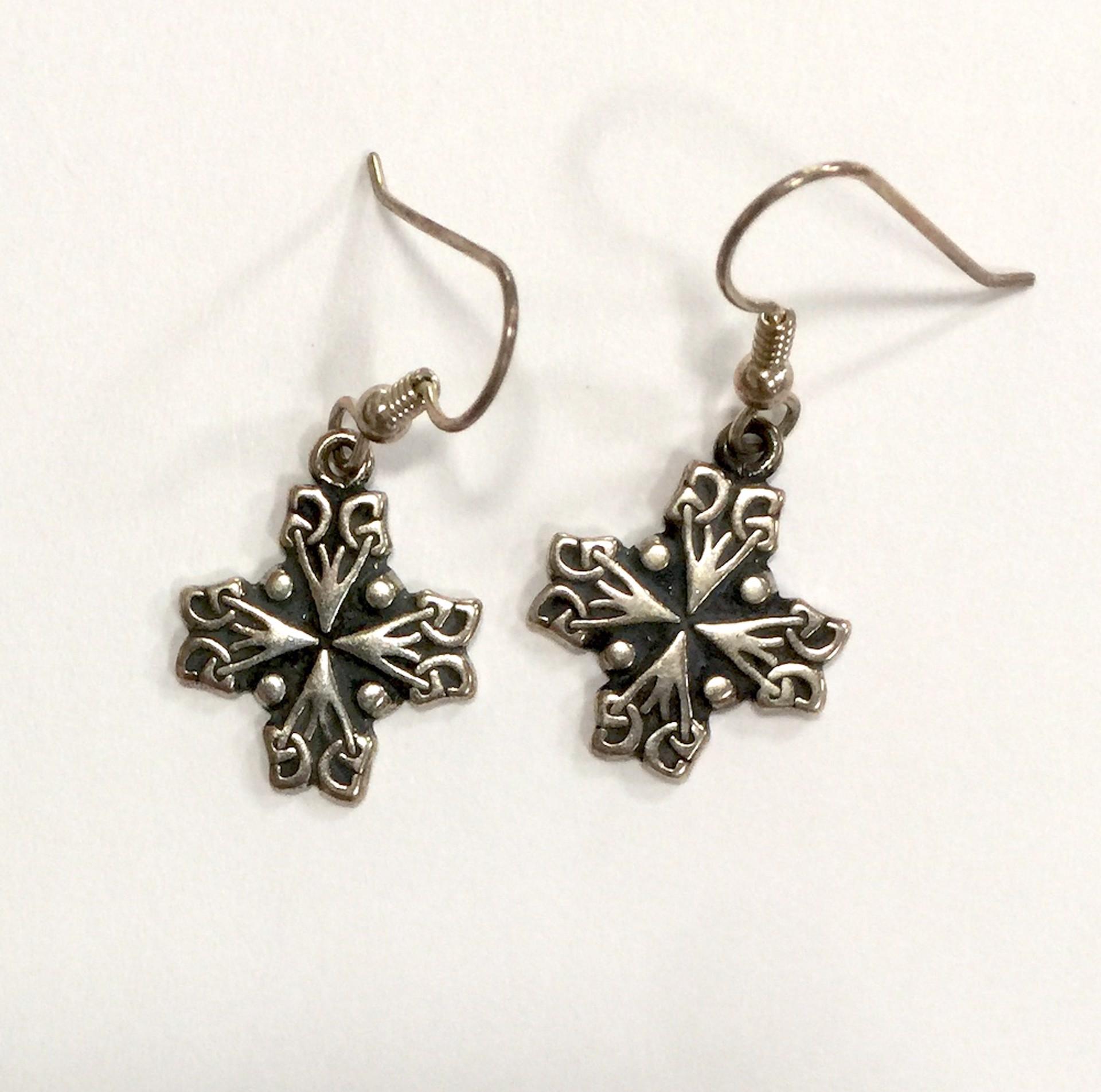 Earrings - Silver Jerusalem Cross 8926 by Deanne McKeown