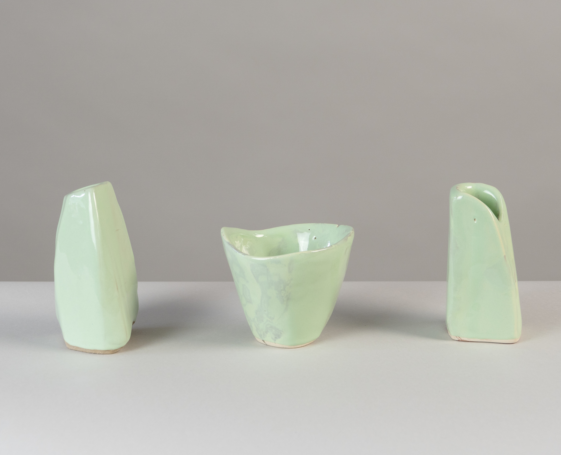 """Springtime"" 10 small vases  by Claire de Lavallee"