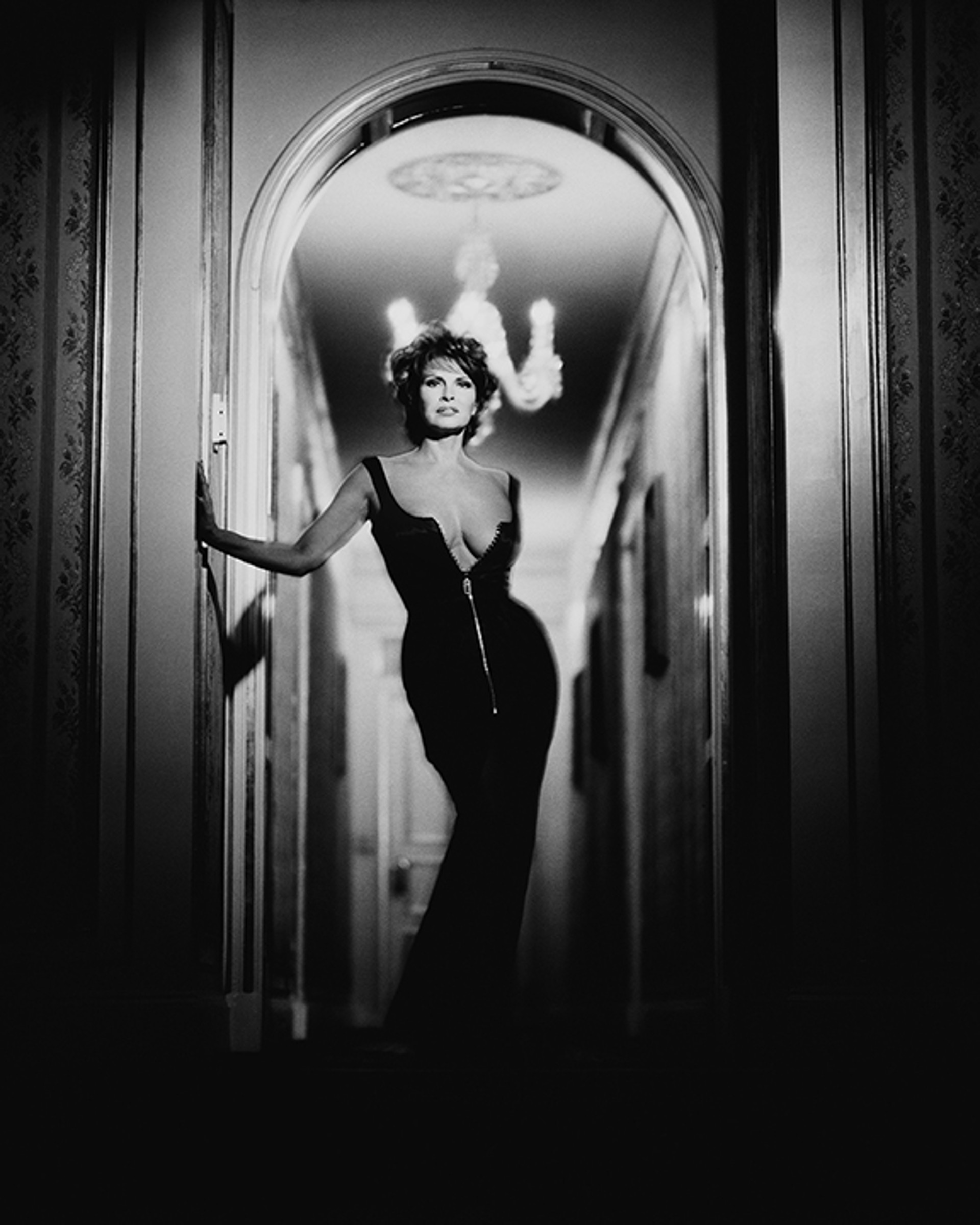 96017 Raquel Welch Doorway BW by Timothy White