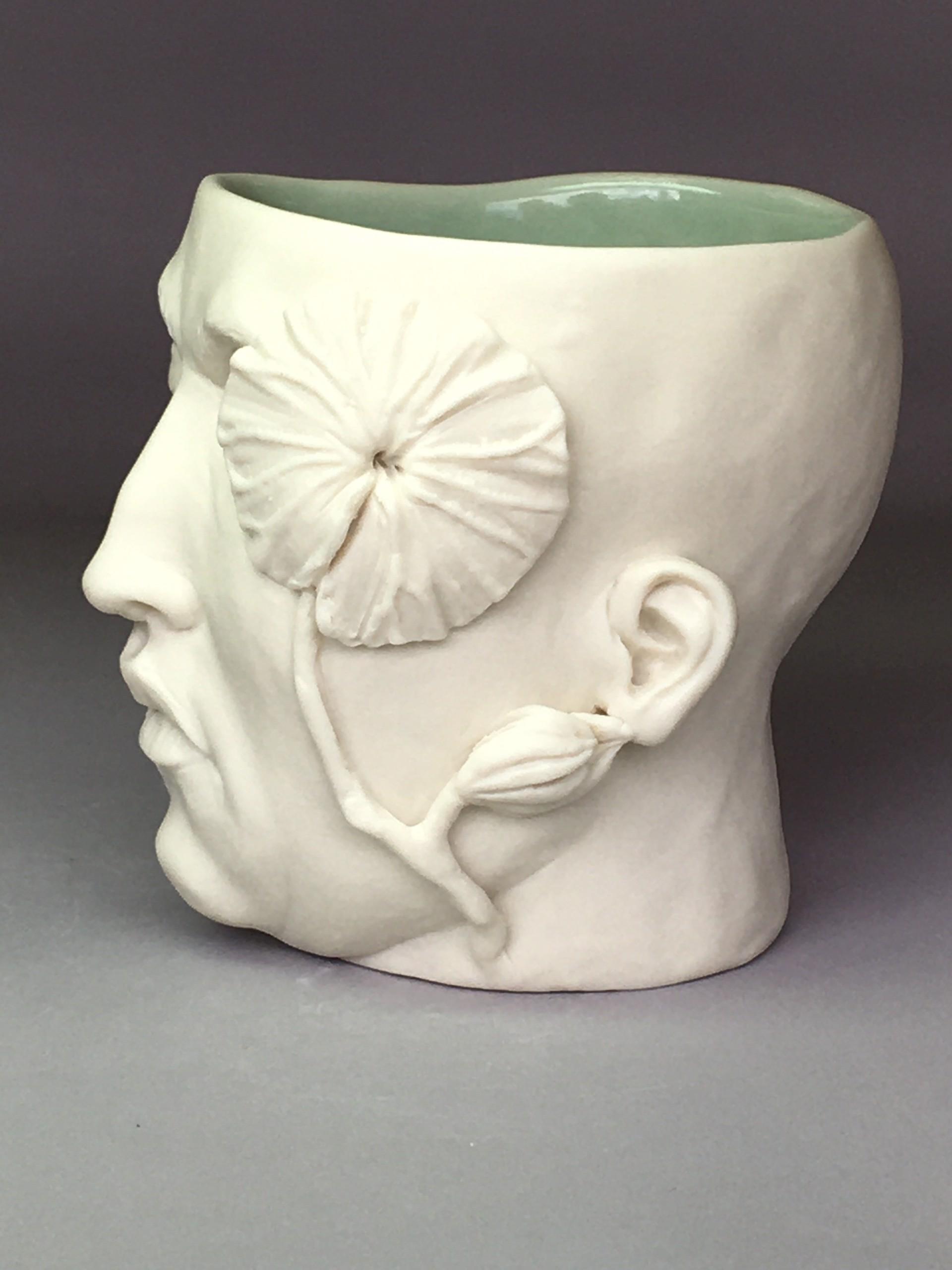 """Flora Cup V"" (one leaf, one bud right side, eyes closed) 2020 by Adrian Arleo"