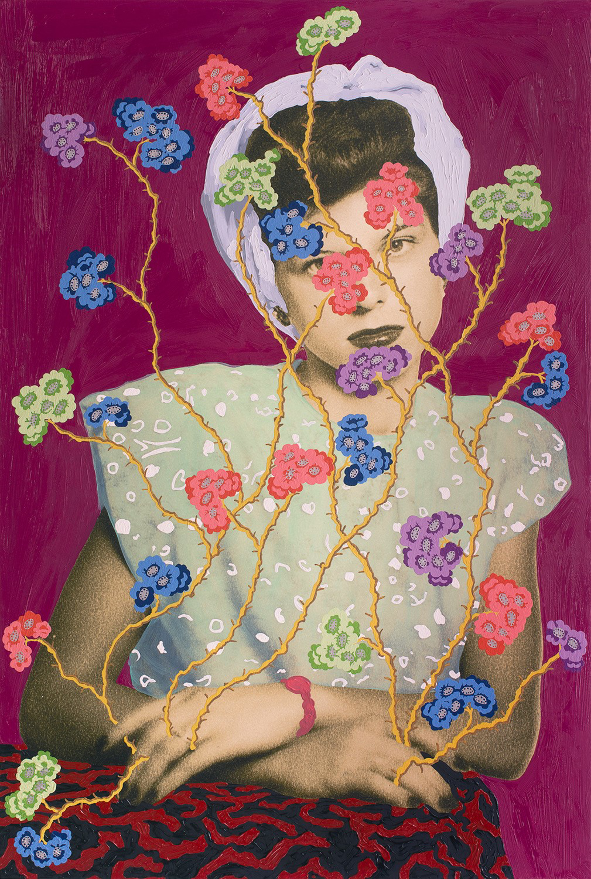 Woman with Headwrap and Multi-Colored Flowers by Daisy Patton