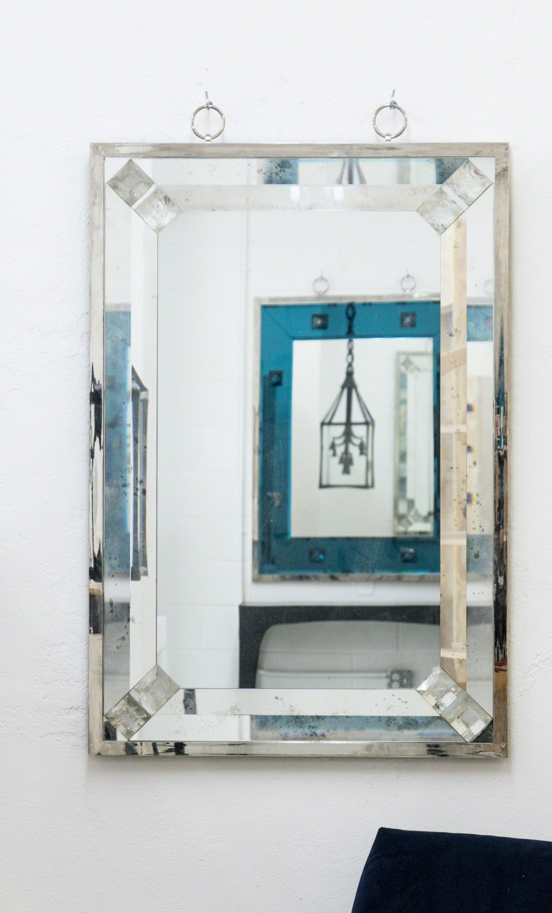 Mirror with rock crystal studs by Andre Hayat