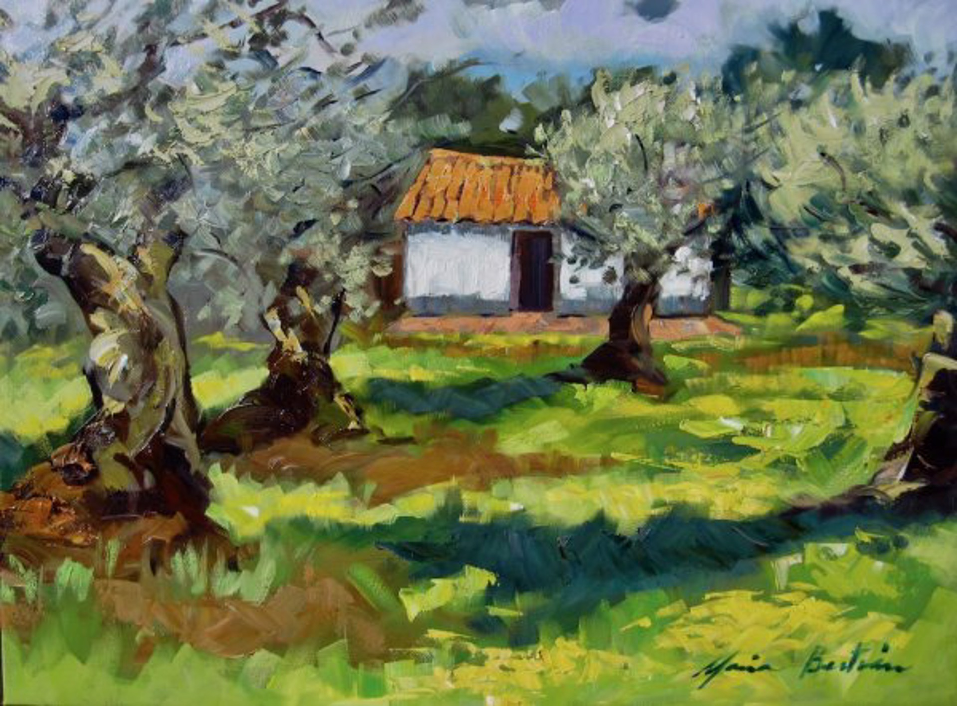 White House In The Olive Grove by Maria Bertrán