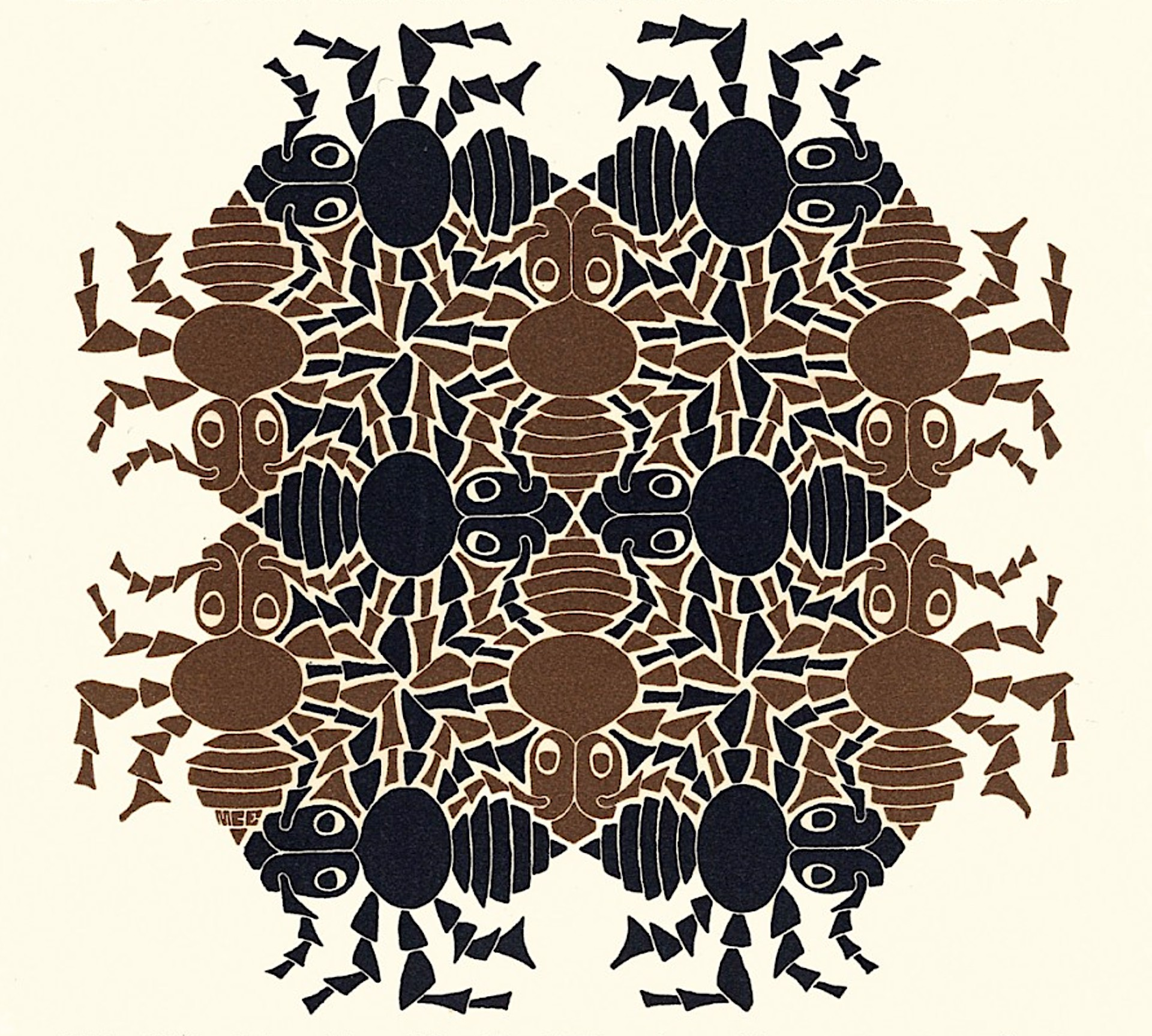 Earth - Strens New Year's Greeting Card (Ants) by M.C. Escher