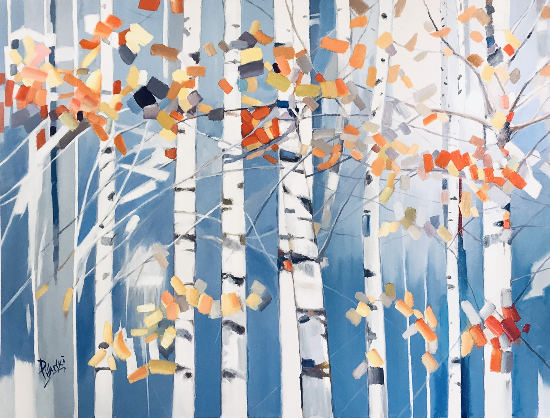 WHITE TREES WITH ABSTRACT LEAVES by PISARSKI