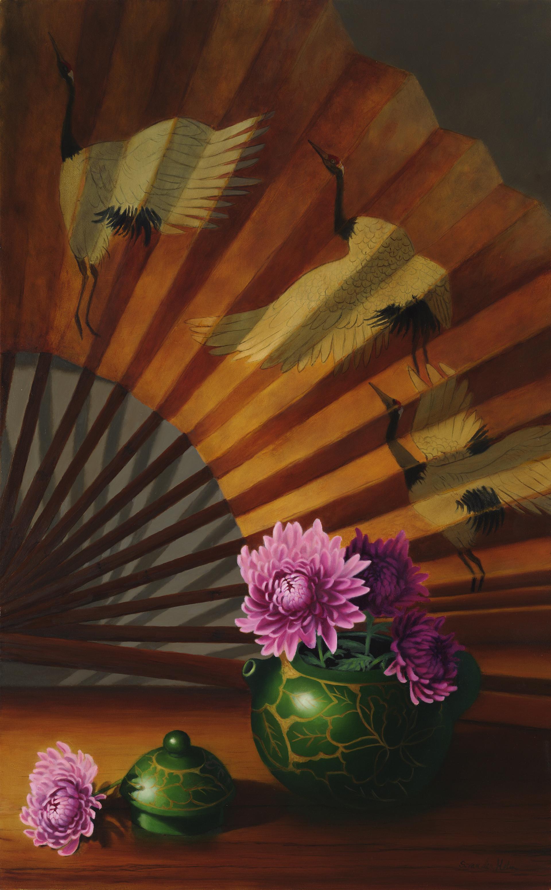 Fan with Cranes 2 by Sarah van der Helm