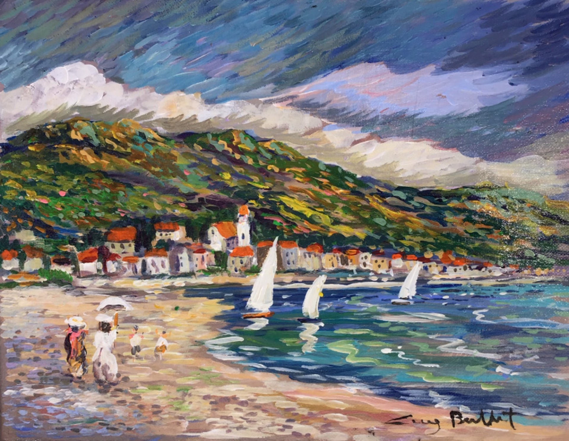 Le Levandou; A Stroll On The Beach by Guy Buffet