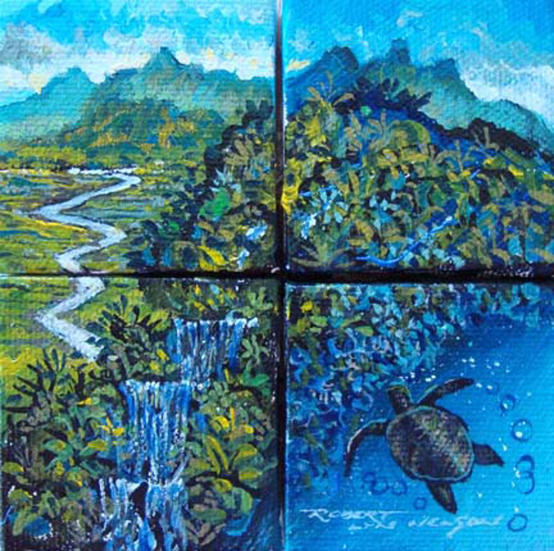 Land And Sea (Quadtych) by Robert Lyn Nelson
