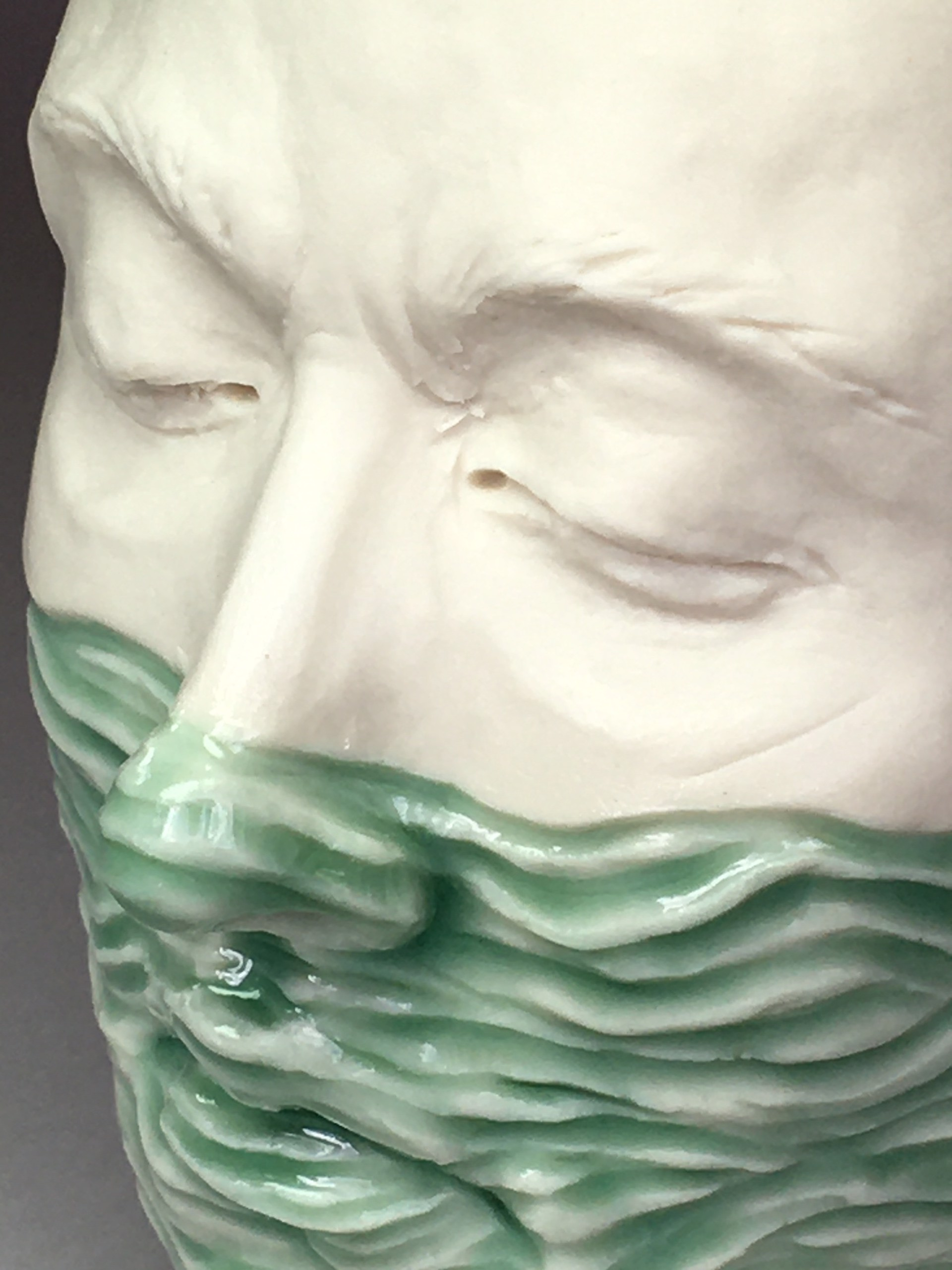 """""""Water Level Cup I"""" (light green celadon, light blue interior) by Adrian Arleo"""