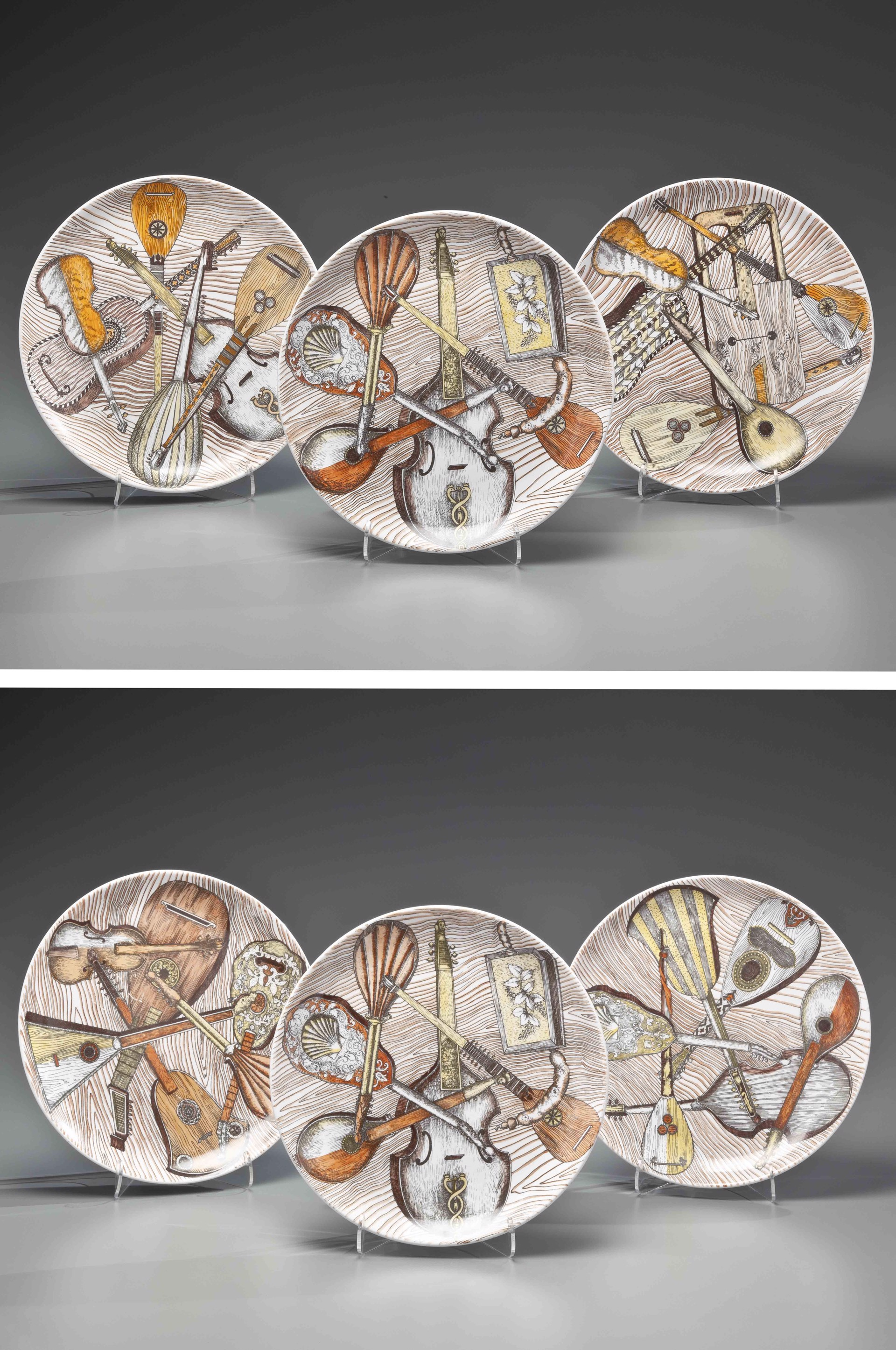 SET OF SIX FORNASETTI-DESIGN TRANSFER-PRINTED PLATES by Piero Fornasetti