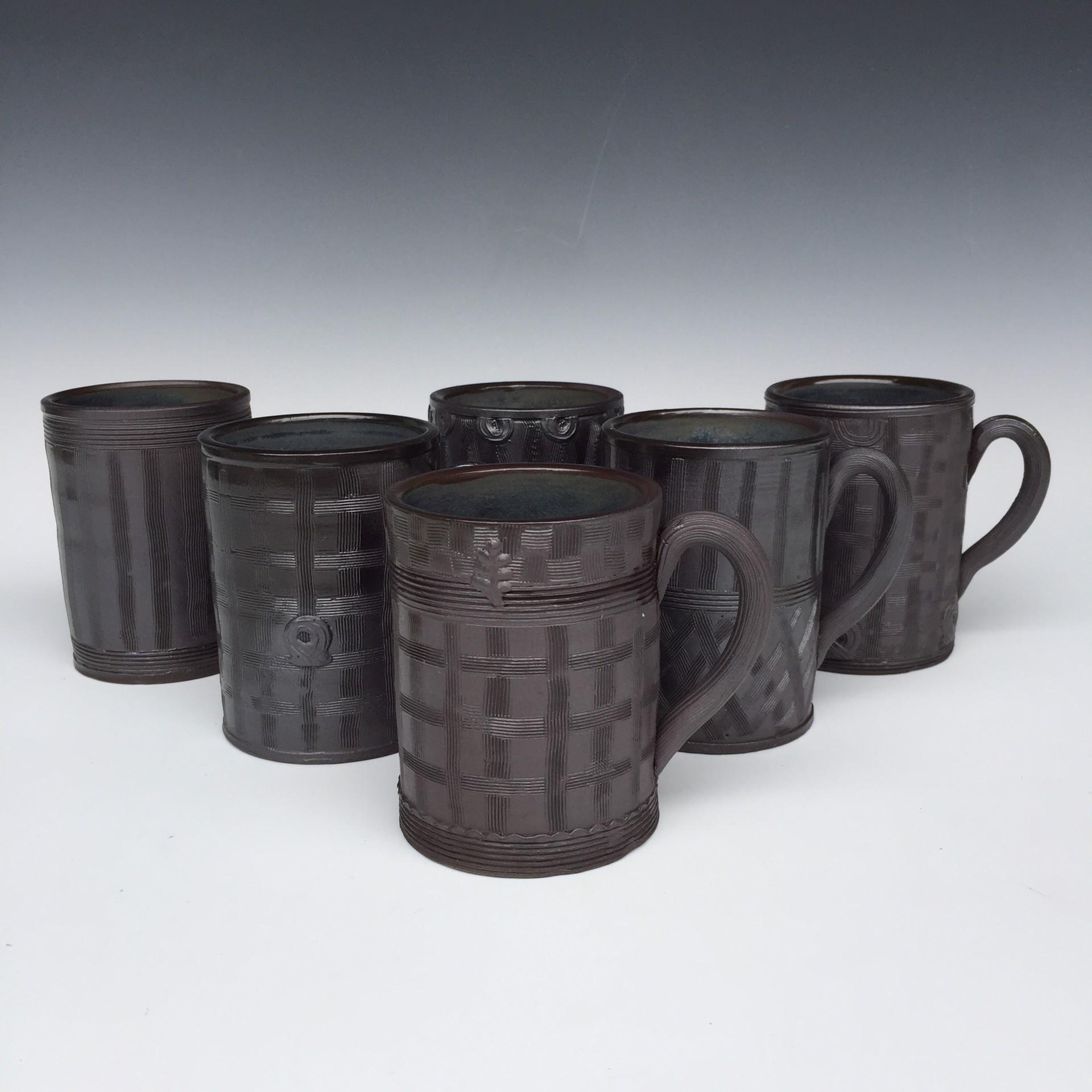 Six Mugs (set) by Linda Sikora
