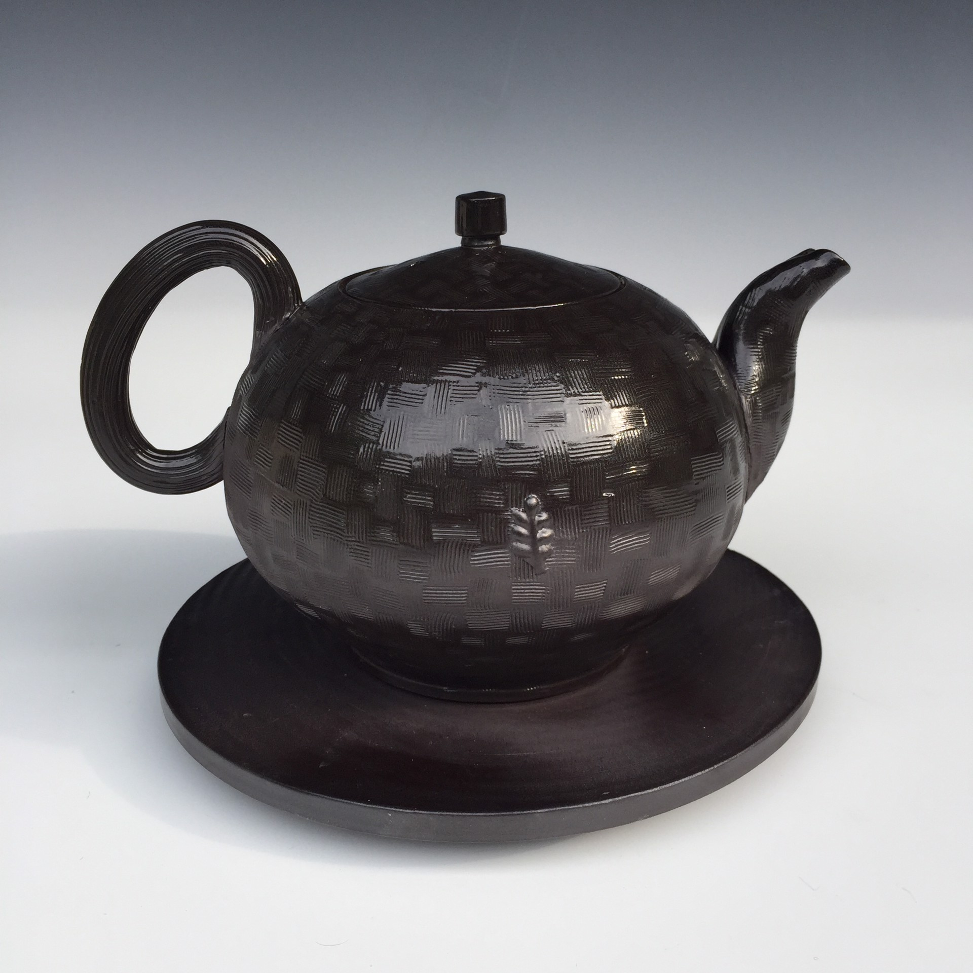 Blackware Teapot on Flat Stand by Linda Sikora
