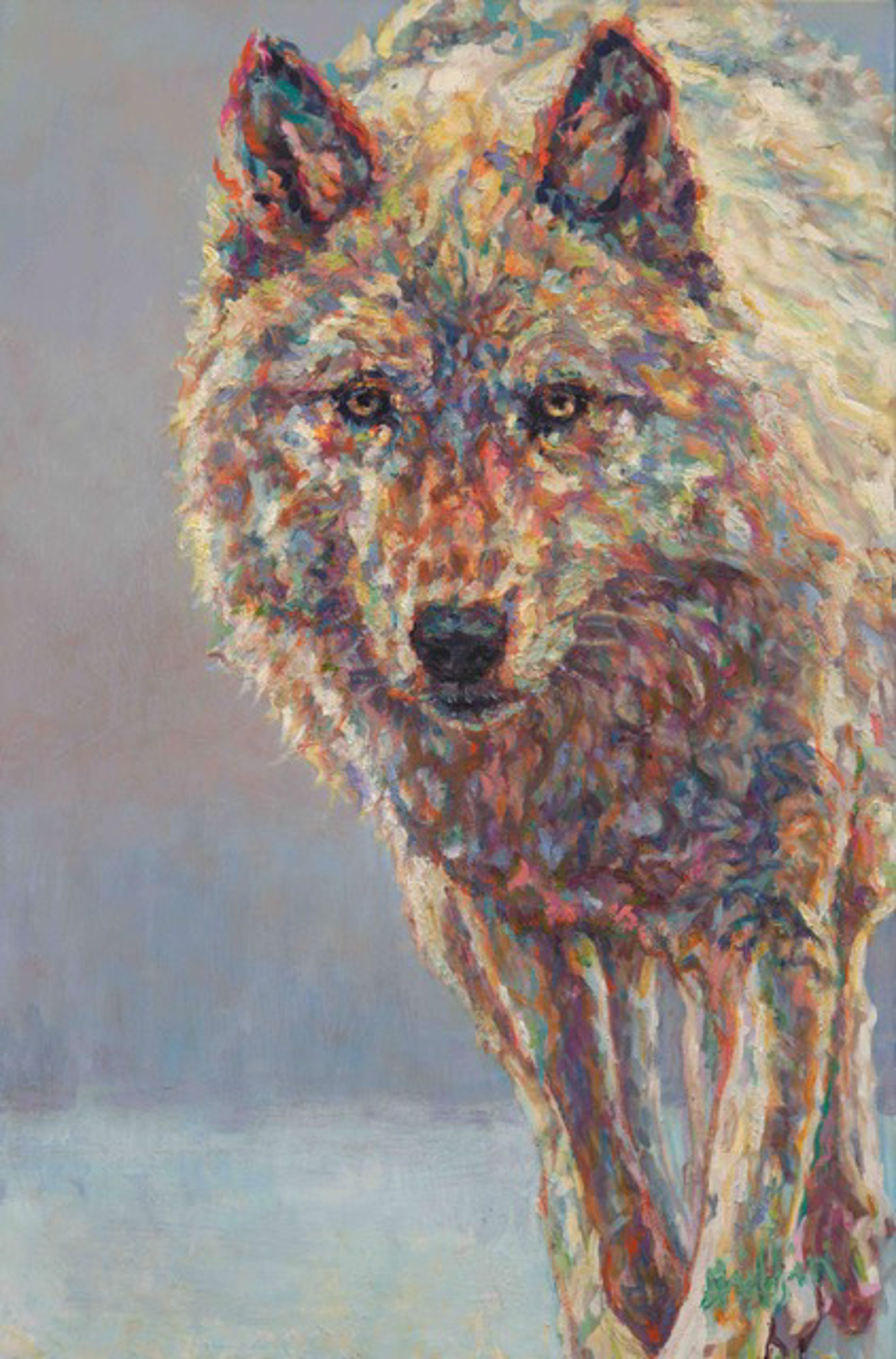 Original Oil Painting Of A White Wolf Walking Towards The Viewer With A Contemporary  Abstract Light Background