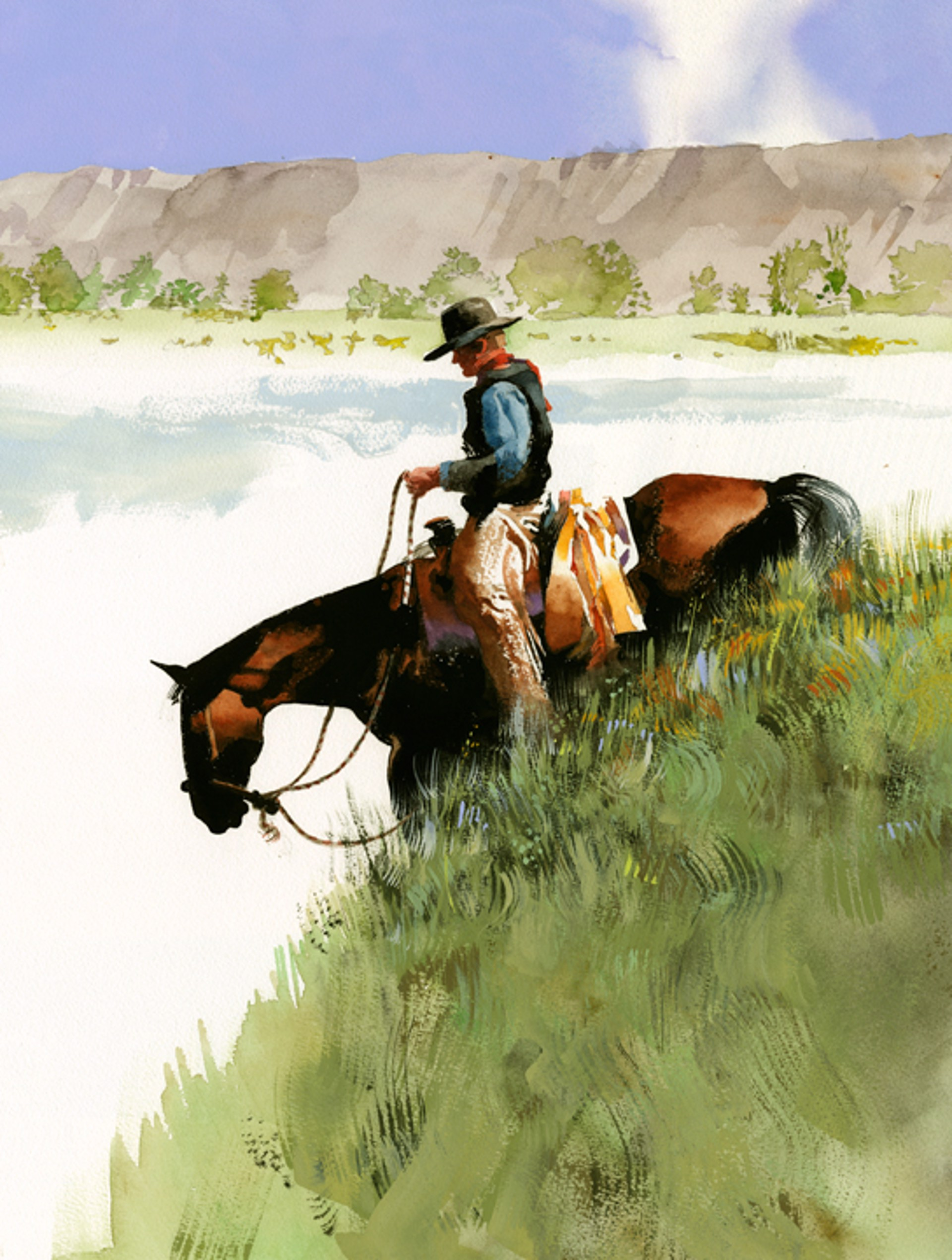Grassy Slope (Rider on a steep hill) by Don Weller