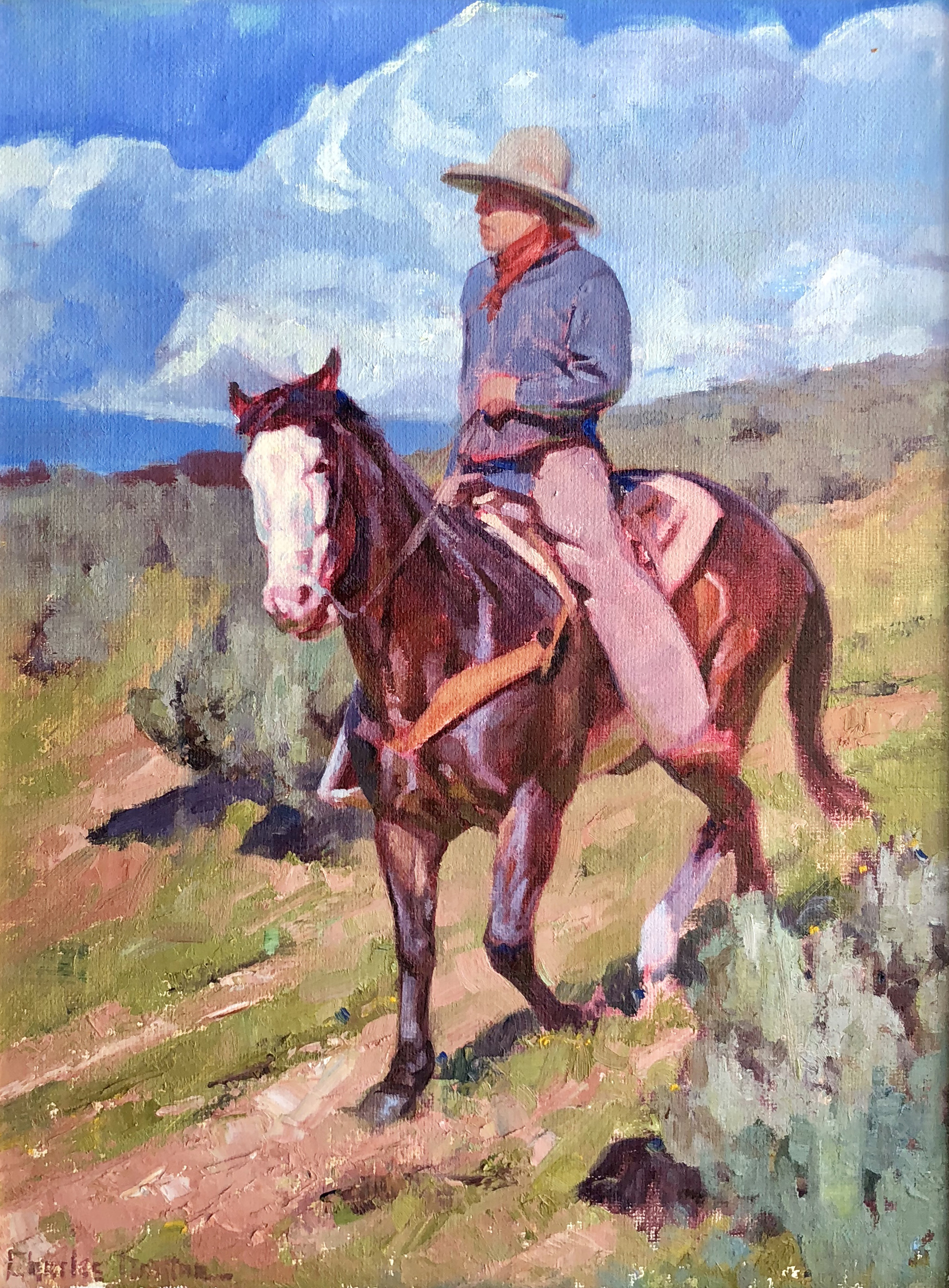 Roping Horse Cowboy on White Horse by Charles Dayton