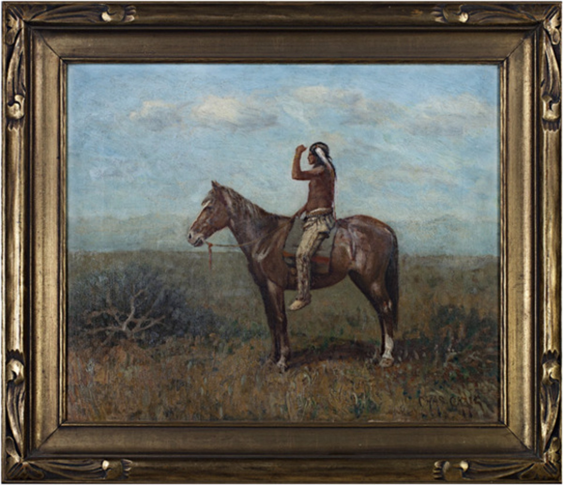 Native American on Horseback (To be sold as pair with 11060g-Cowboy on Horseback) by Charles Craig