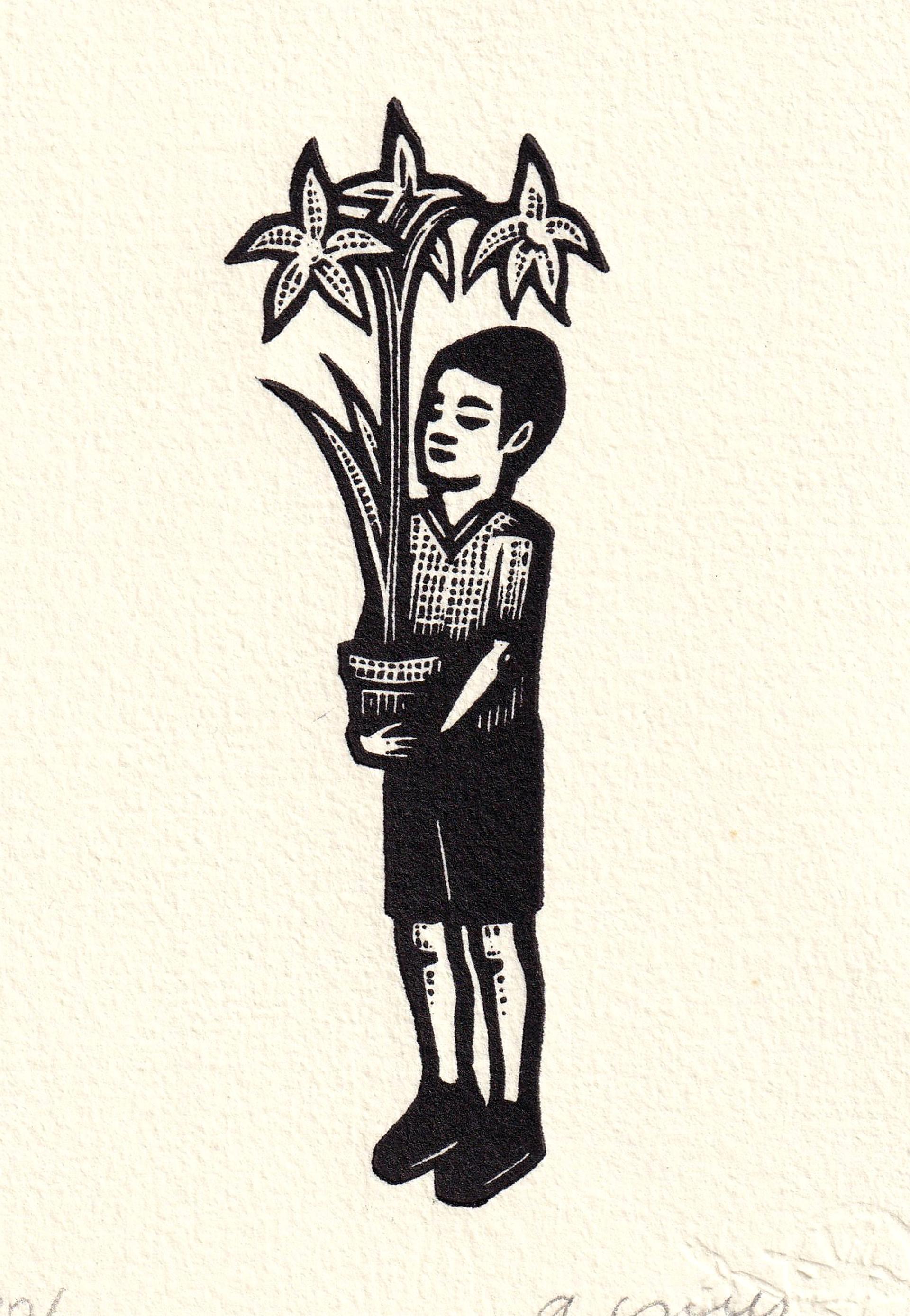 Nino con Planta by Alberto Cruz