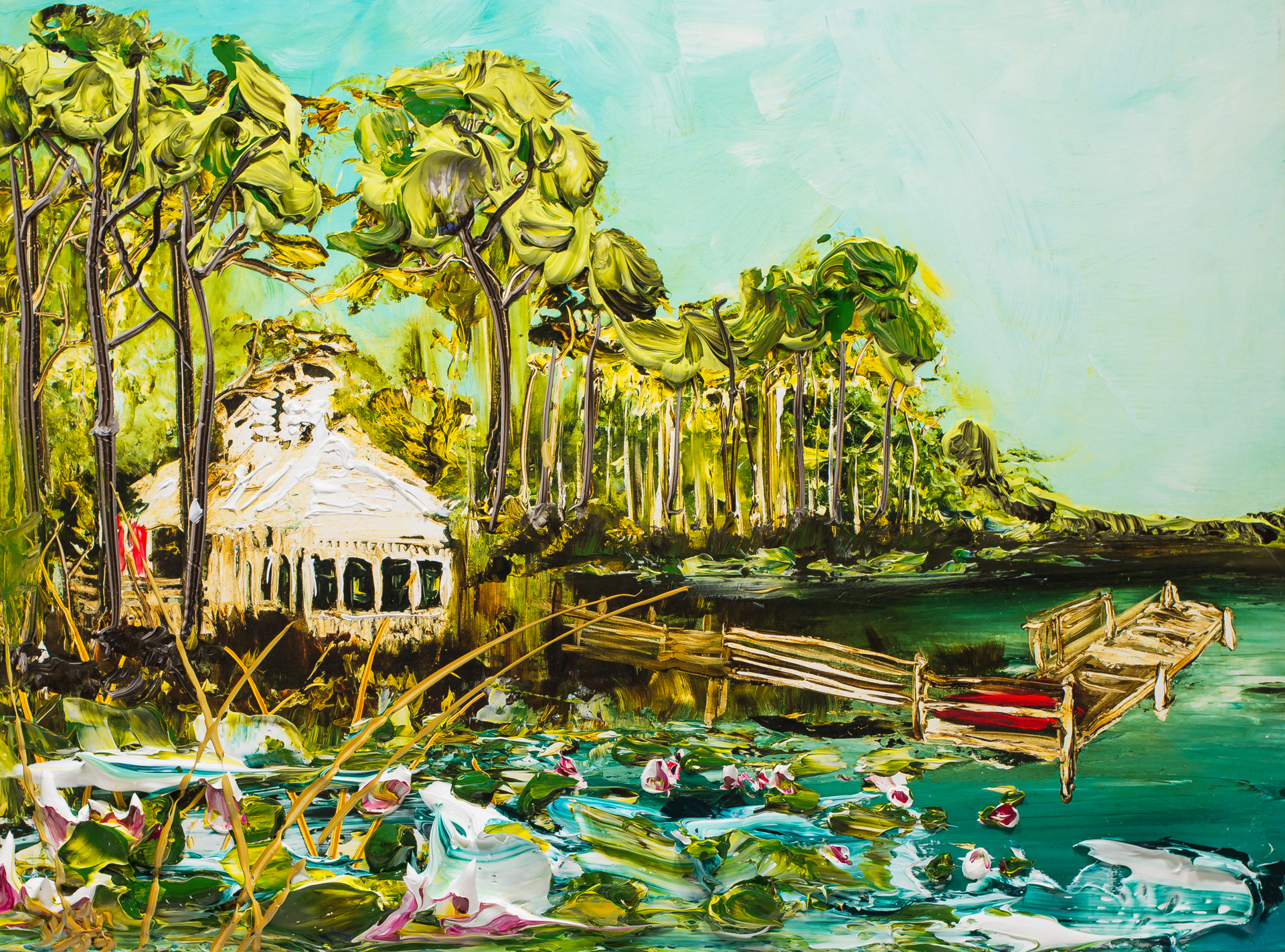 WATERCOLOR BOATHOUSE WBH32X24-2018-2.75NF HPAE 7/50 by Justin Gaffrey
