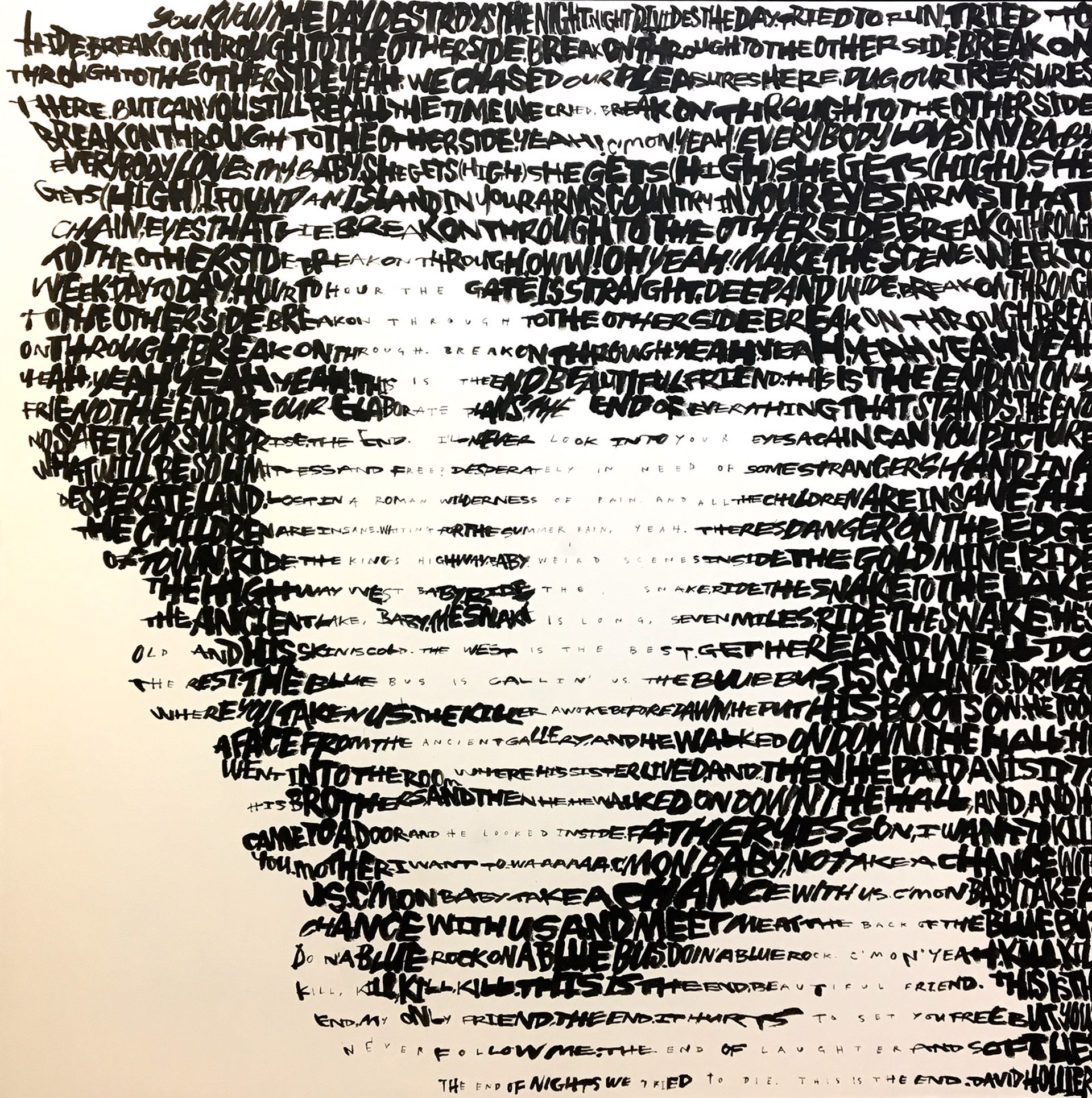 Jim Morrison (Text: 'Break on Through' and 'The End' by The Doors) by David Hollier
