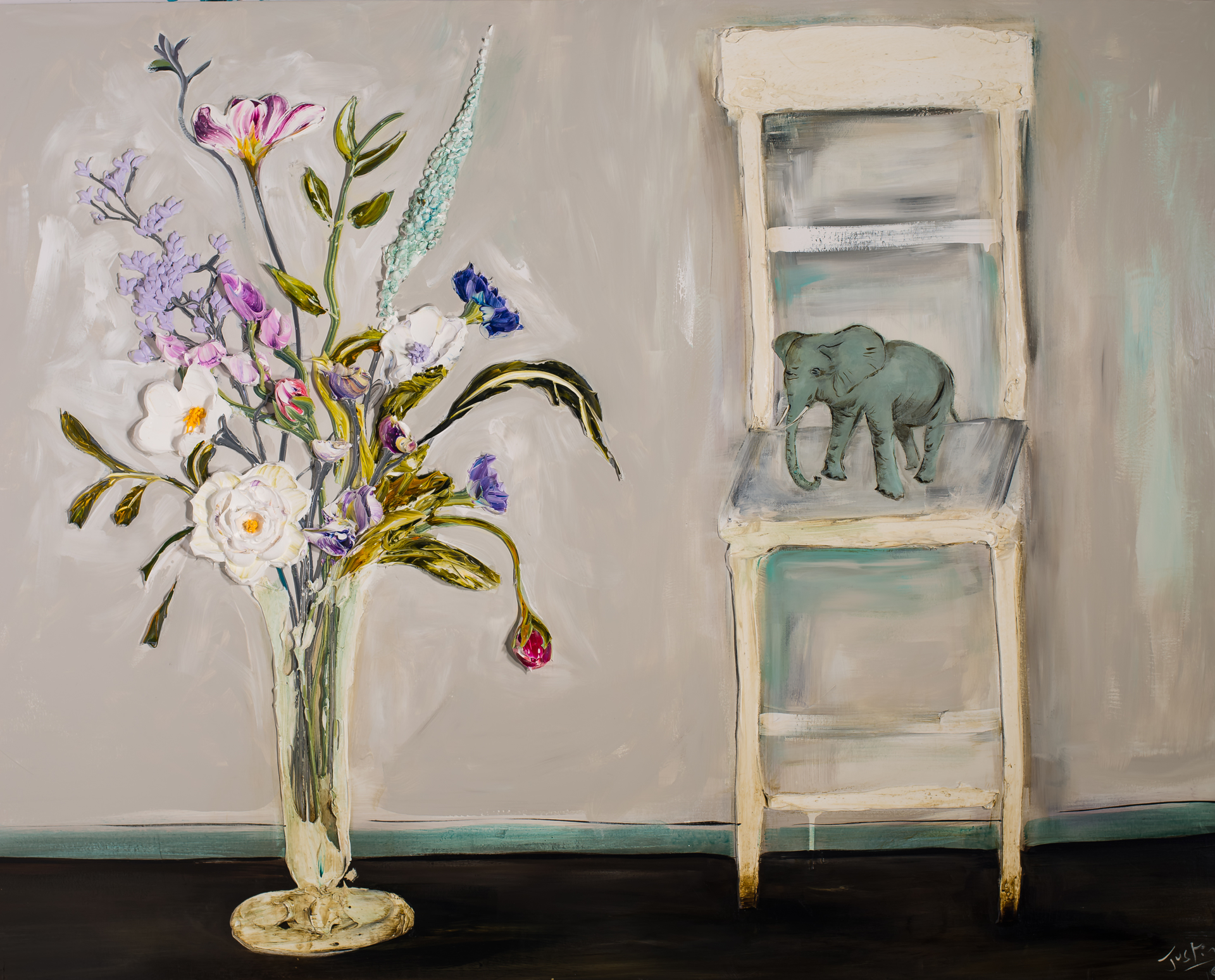 FLORAL STILL LIFE WITH CHAIR AND ELEPHANT by Justin Gaffrey