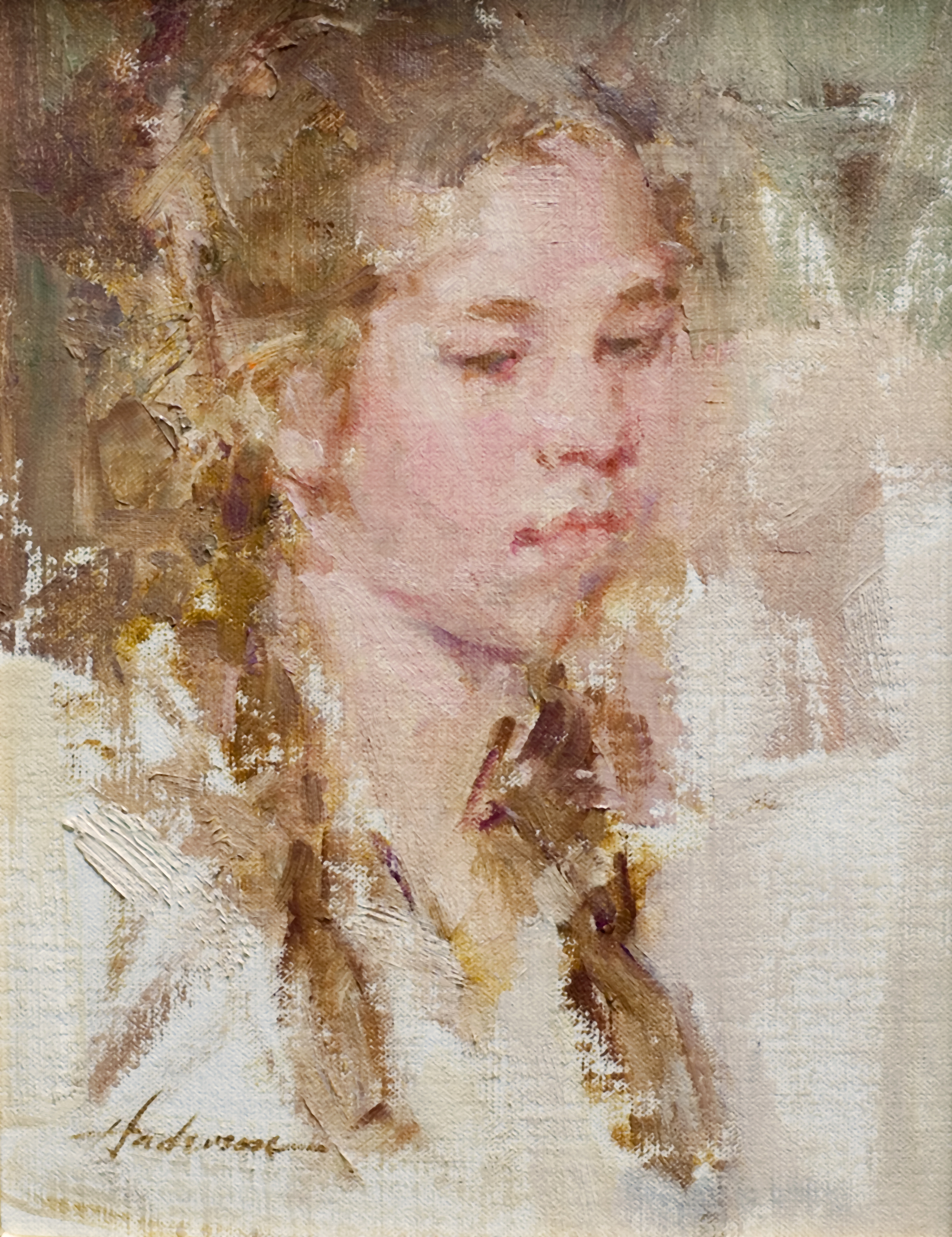 Young Girl with Braids by Carolyn Anderson