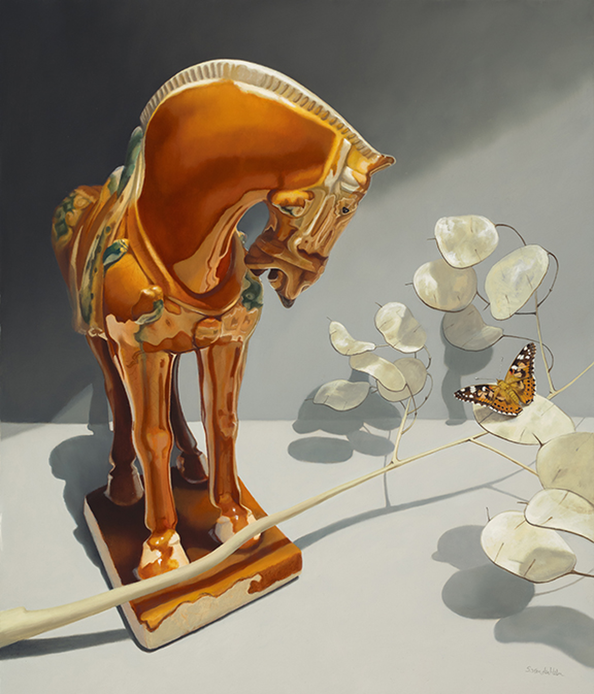 Dynasty Horse and Butterfly by Sarah van der Helm
