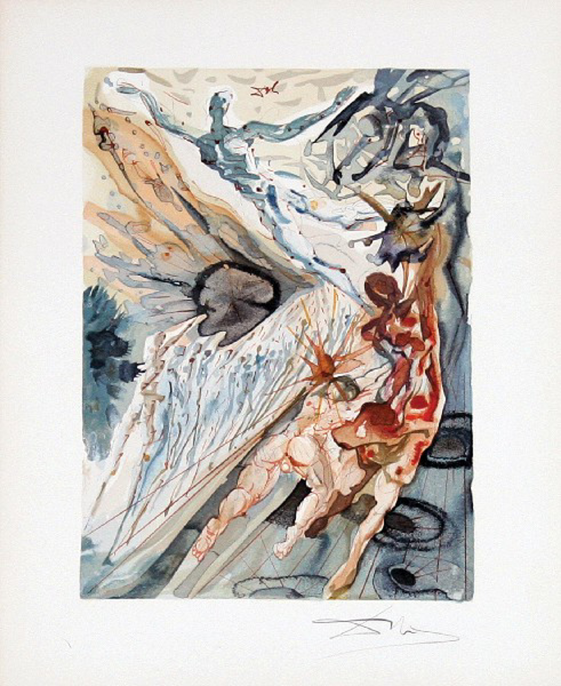 Purgatory Canto 26: Encounter with Two Groups of the Lusty Ones from The Divine Comedy by Salvador Dali (1904 - 1989)