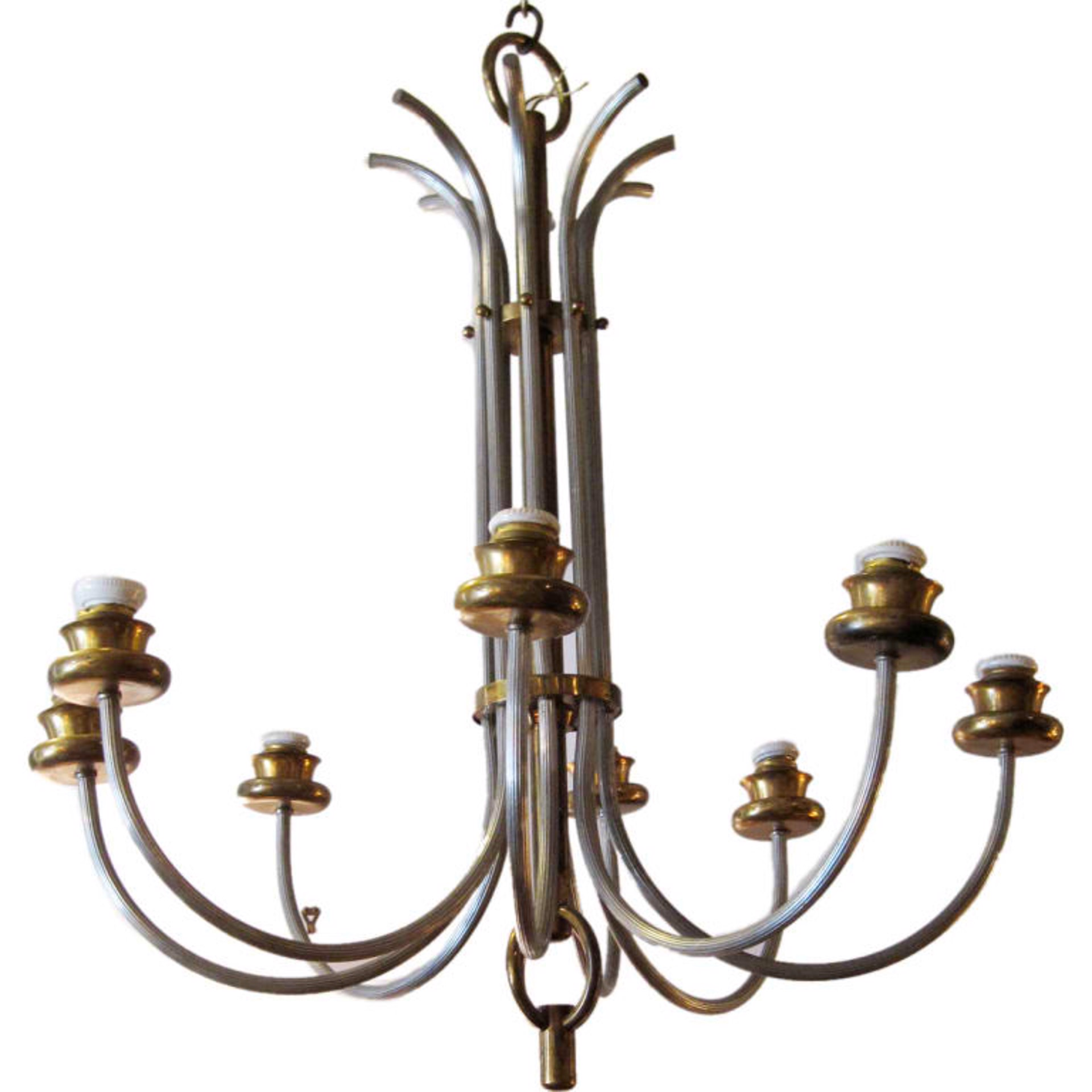 8-Arm French 1940 chandelier by Vintage