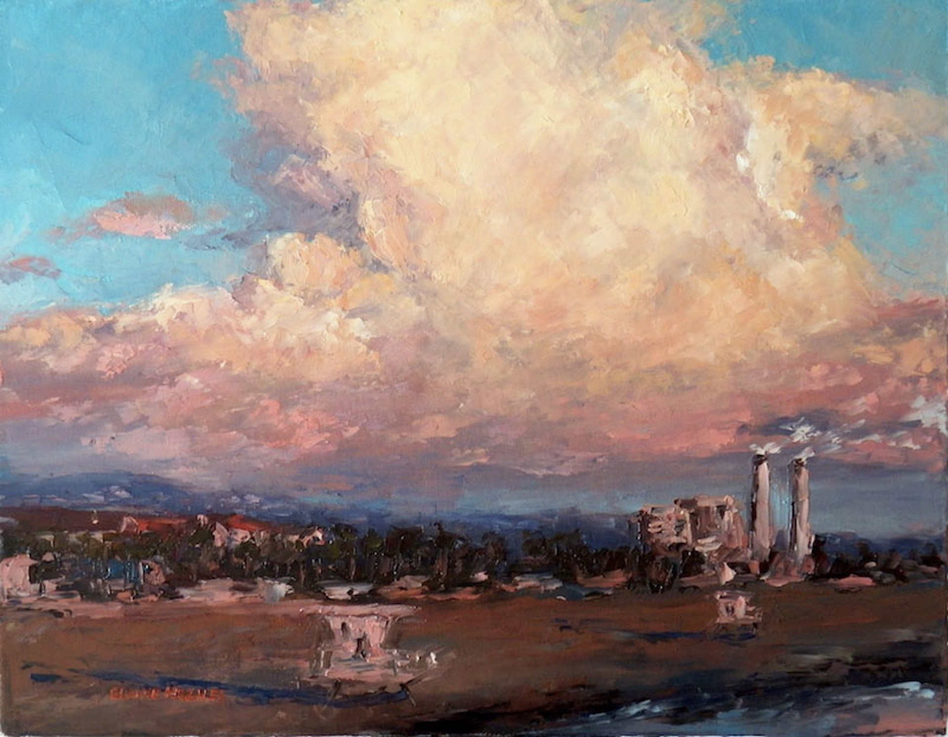 Clouds And Coastline by Elaine Hughes