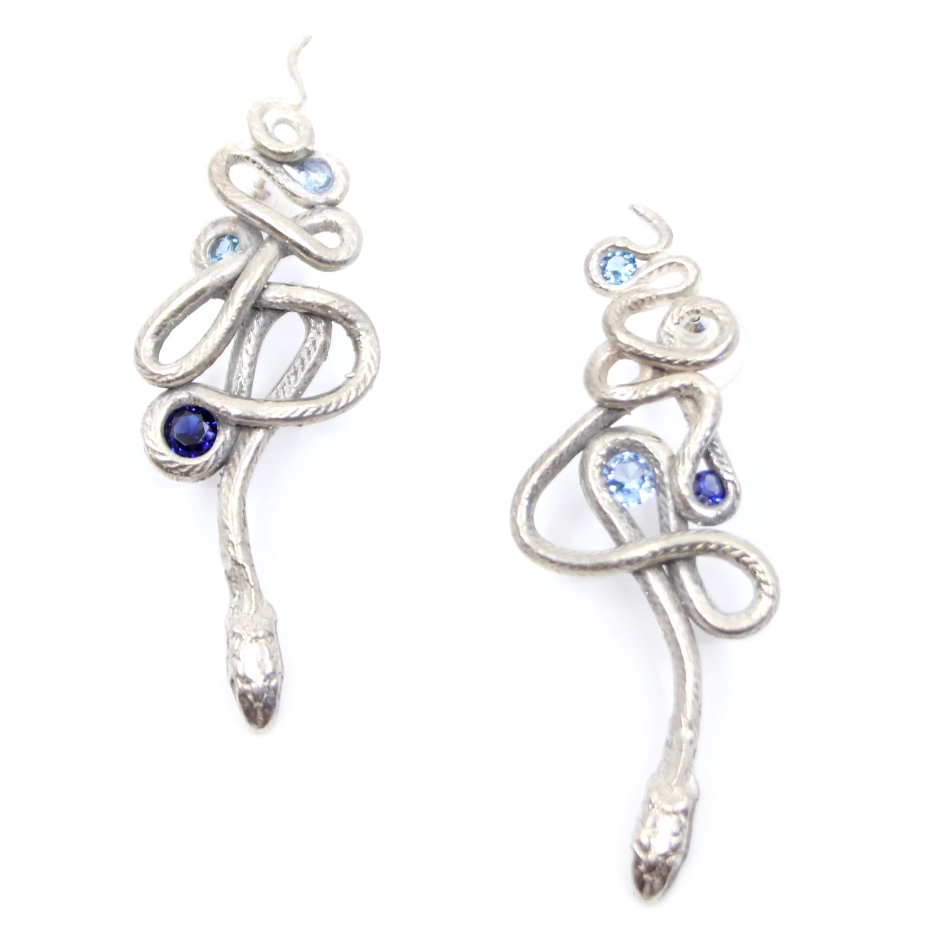 Sapphire Serpentine Earrings by Anna Johnson