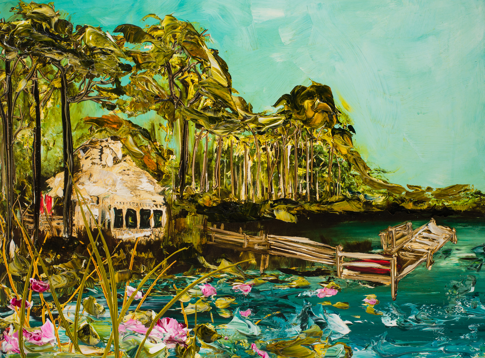 """WATERCOLOR BOATHOUSE HPAE 1/50 2.75"""" by Justin Gaffrey"""