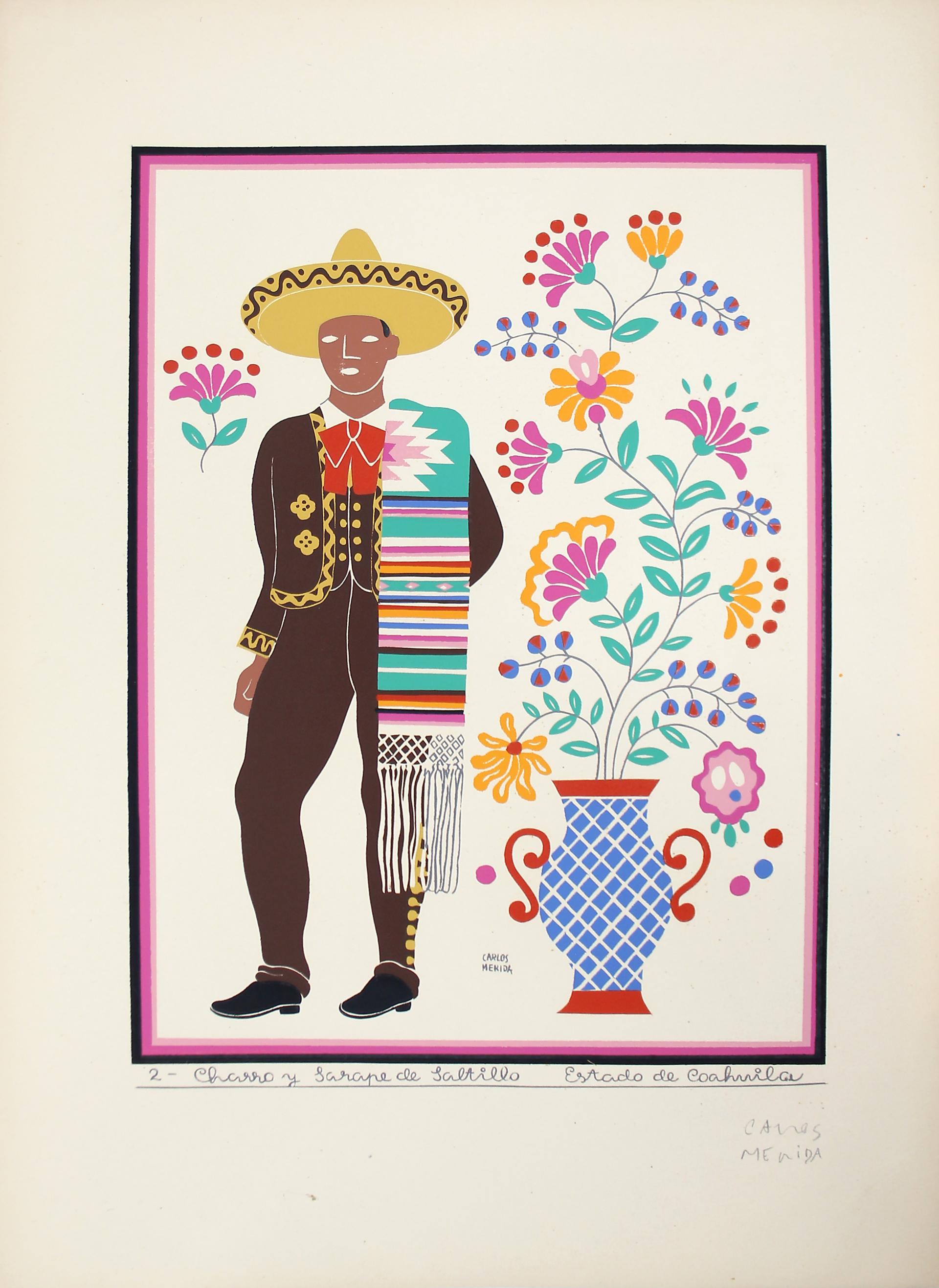 Charro y Sarape de Saltillo, Estado de Coahuila by Carlos Mérida (1891 - 1985)