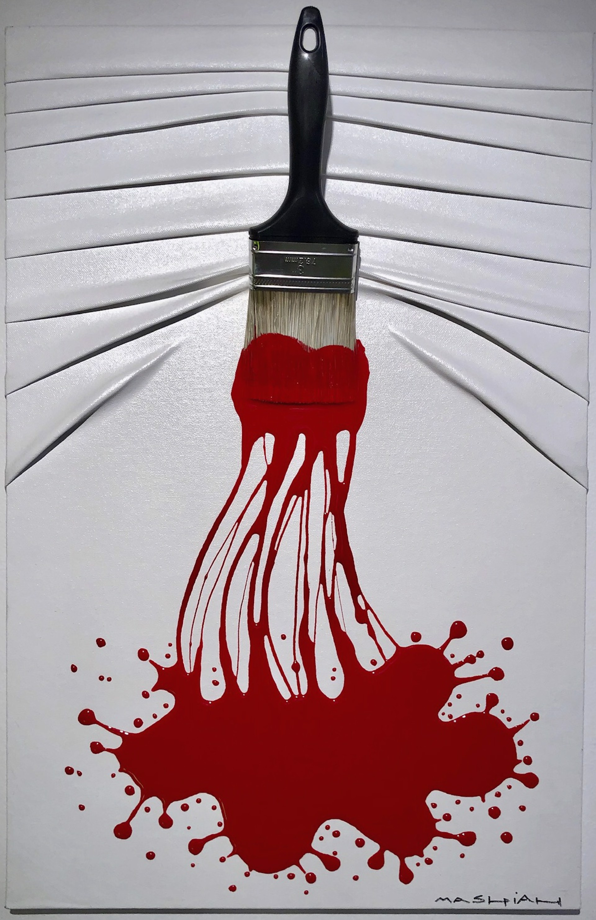 """Let's Paint"" small, Red Splash On White by Efi Mashiah"