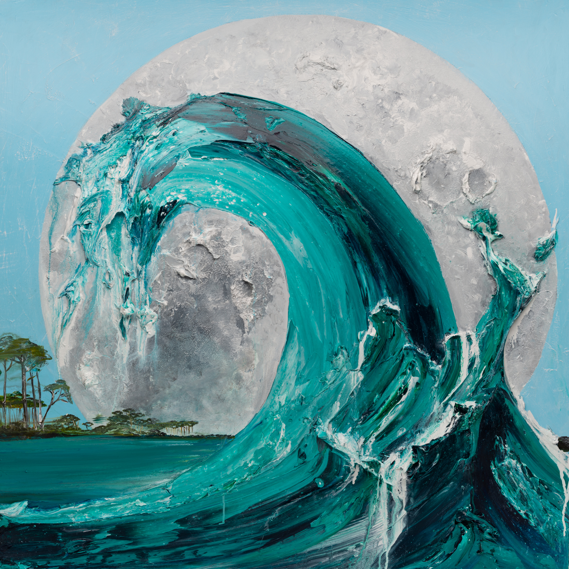 WAVE MOON 1 MS-48X48-2019-311 by JUSTIN GAFFREY