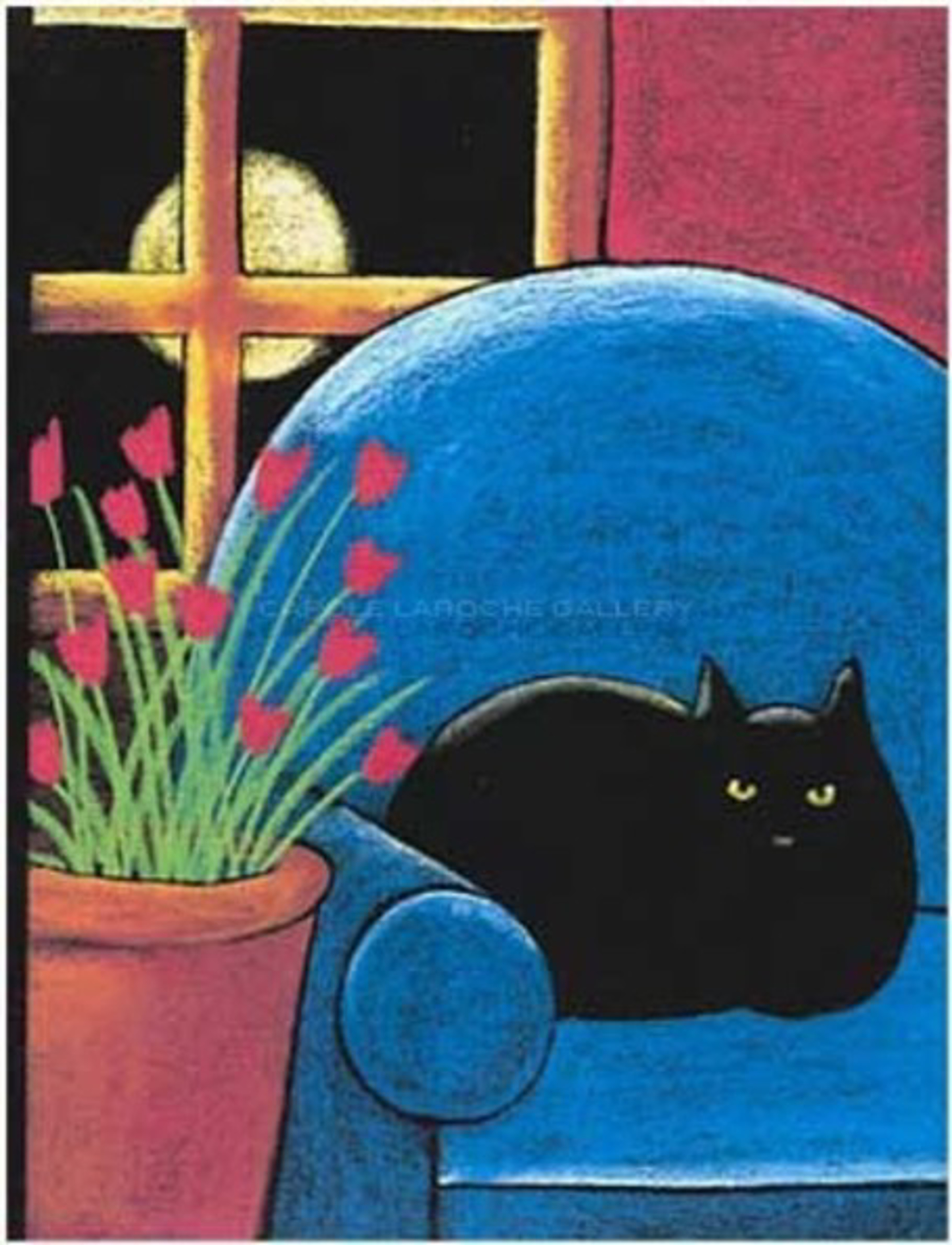 "BLACK CAT IN BLUE CHAIR - limited edition giclee on paper w/frame size of 36""x29""  by Carole LaRoche"